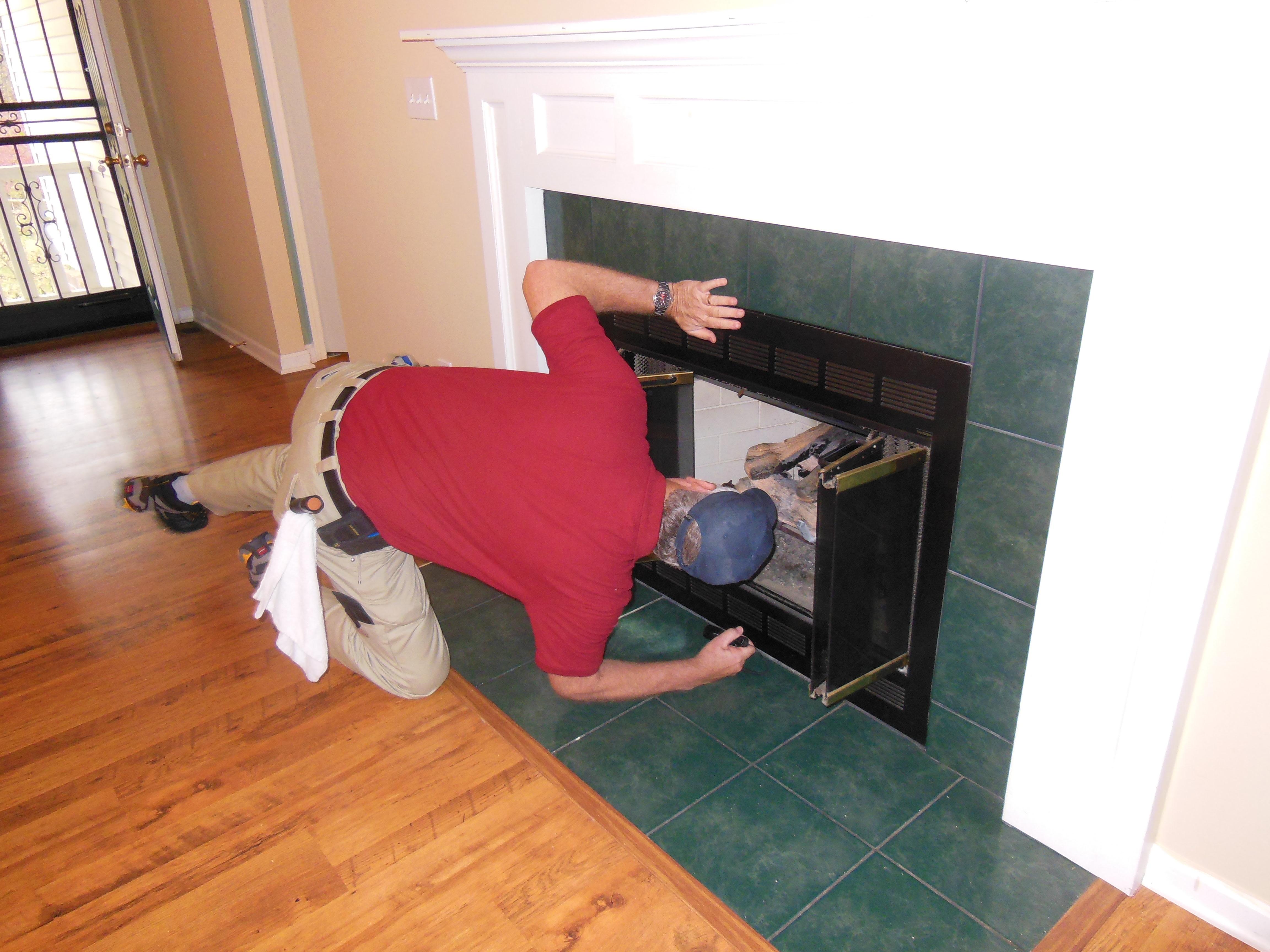 Fireplace inspection.