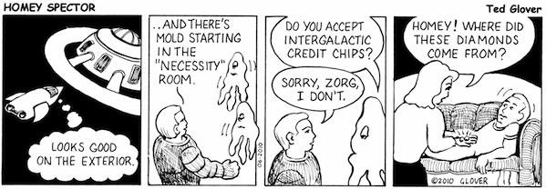 Inspecting a Spacecraft Cartoon