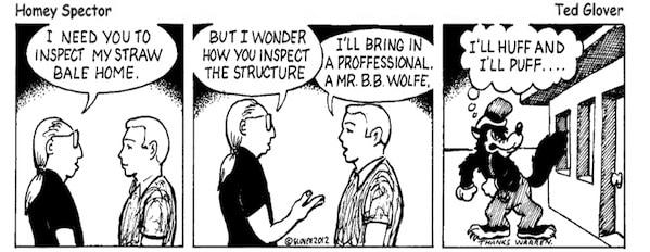 Inspecting a Straw Bale Cartoon
