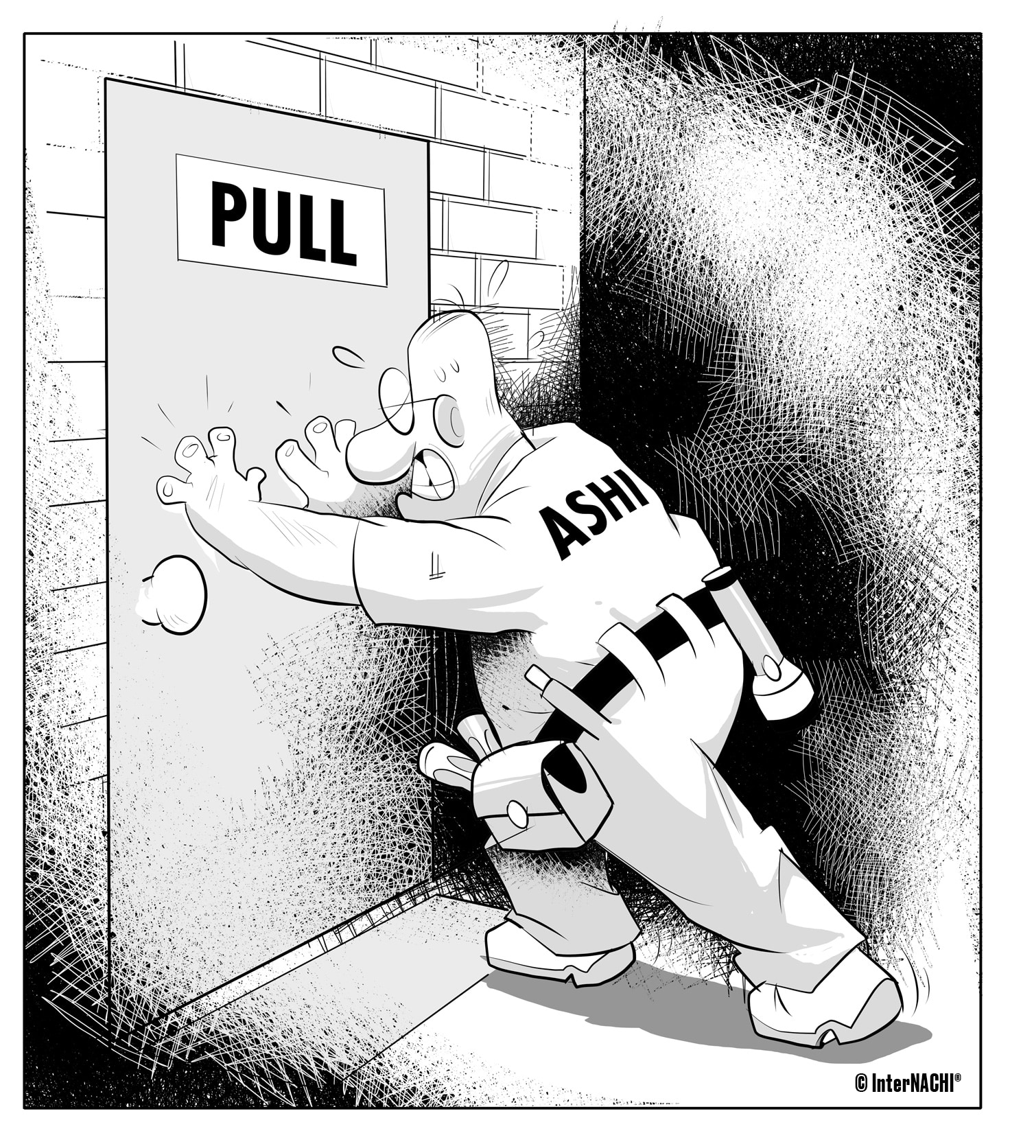 Push the Door Inspection Cartoon