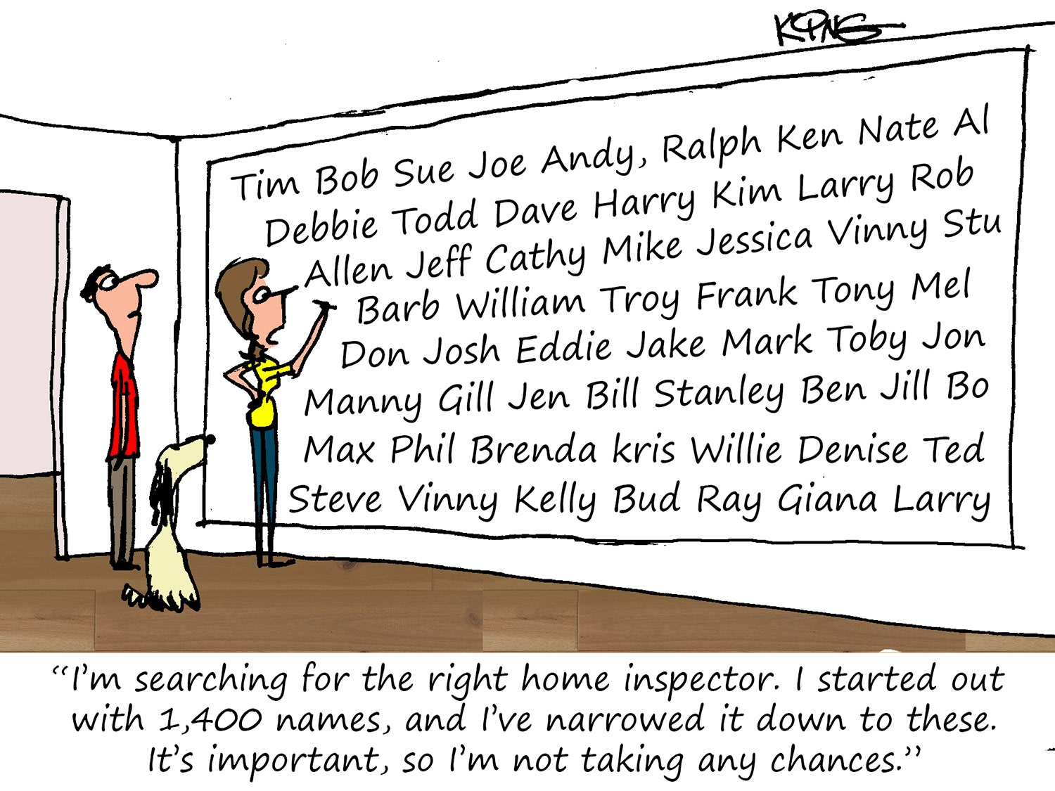Searching for the Right Home Inspector Cartoon