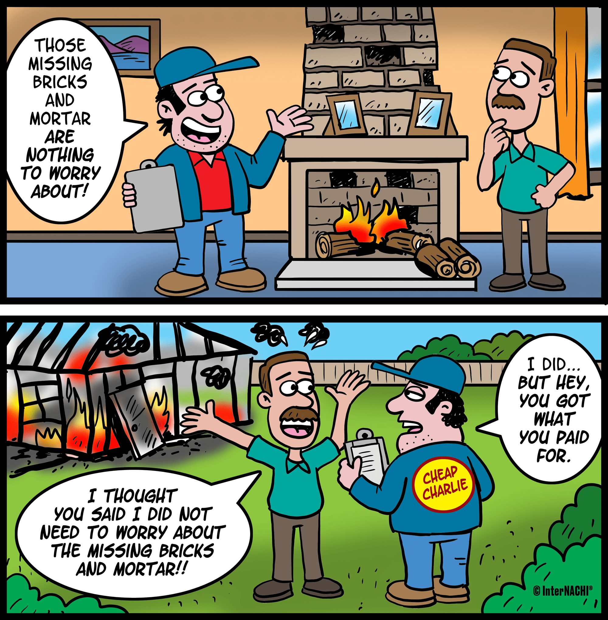 The Chimney Inspection Home Inspection Cartoon