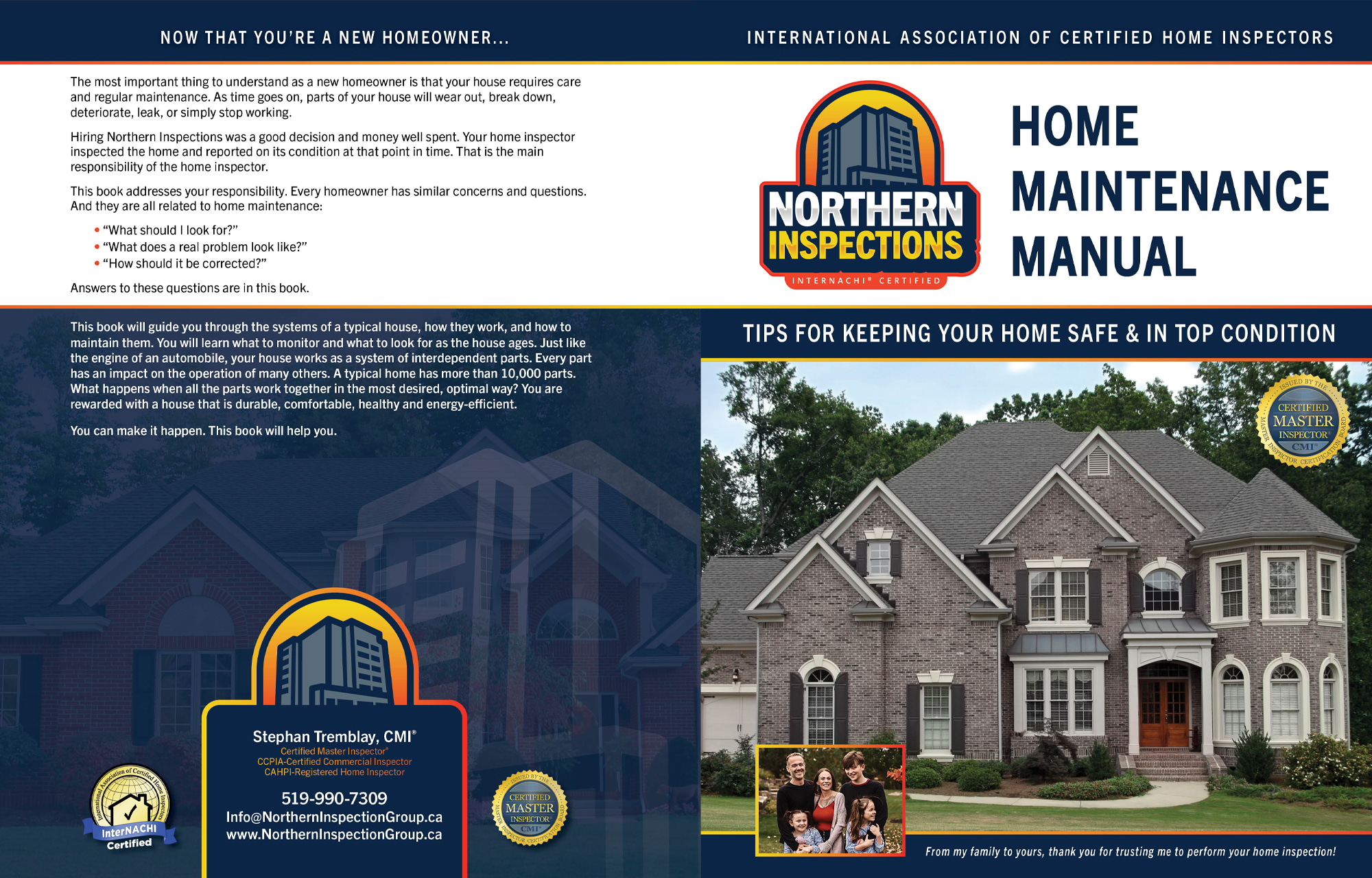 Custom Home Maintenance Book for Northern Inspections