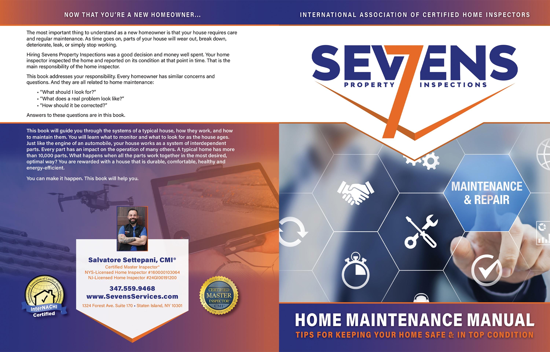 Custom Home Maintenance Book for Sevens Property Inspections