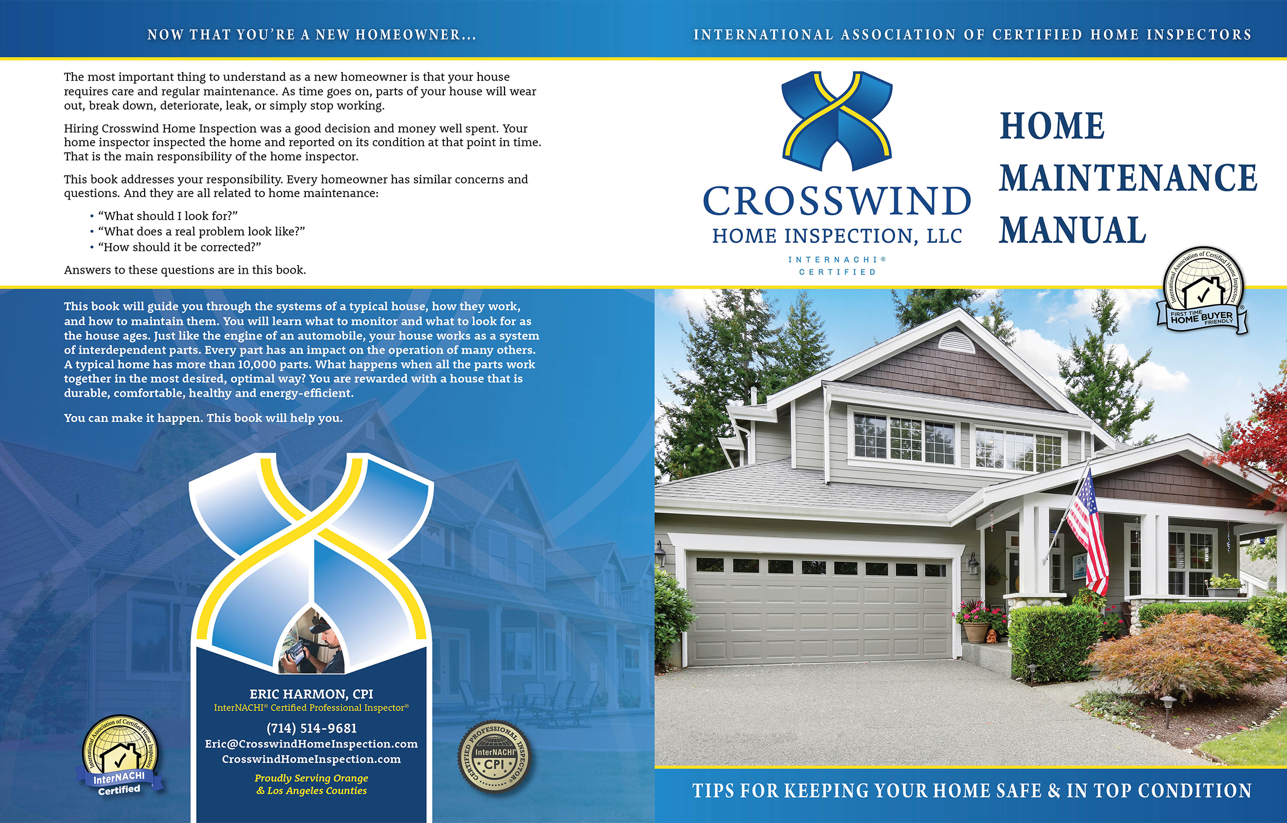 Custom Home Maintenance Book for Crosswind Home Inspections