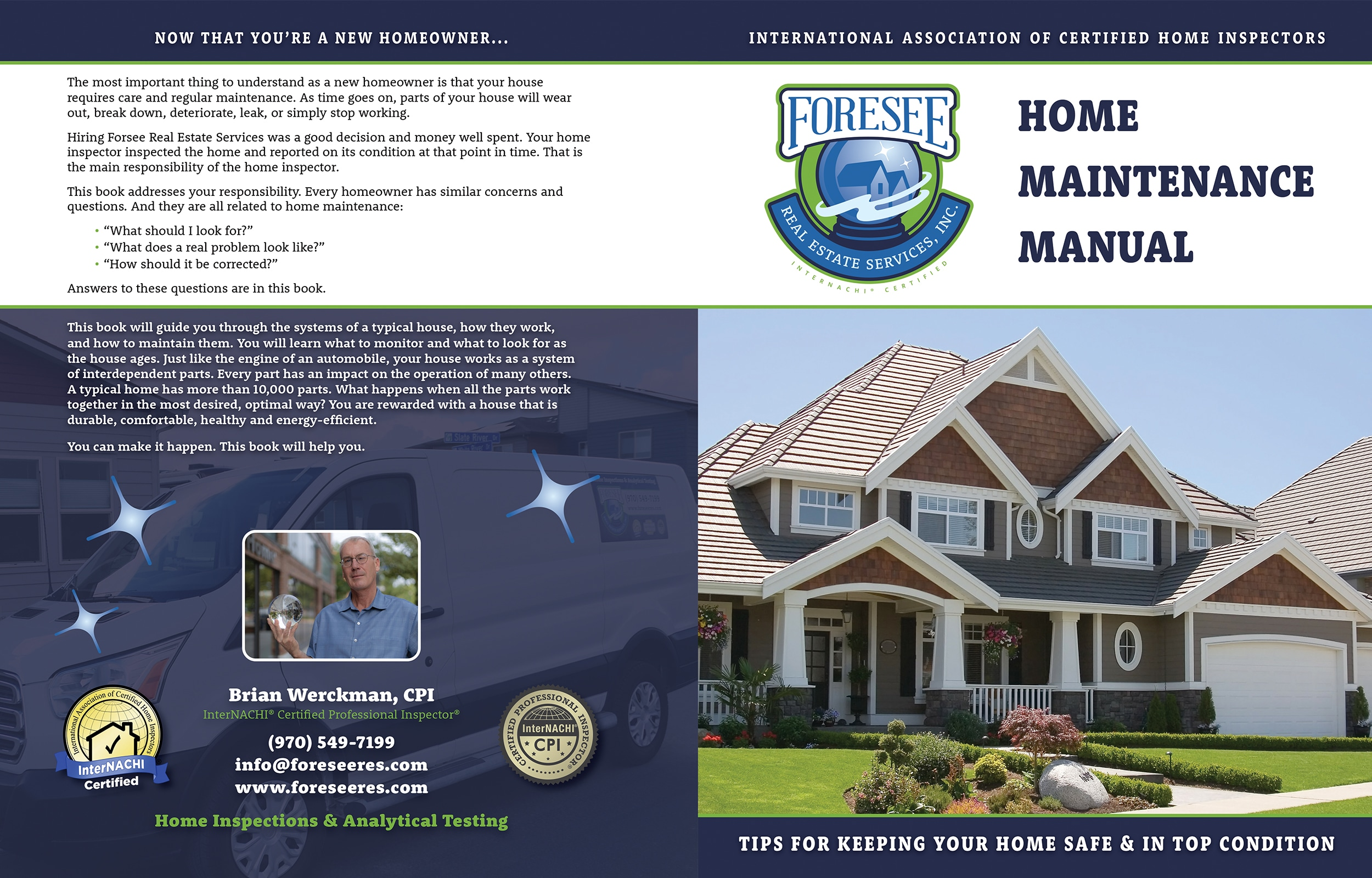 Custom Home Maintenance Book for Foresee Real Estate Services