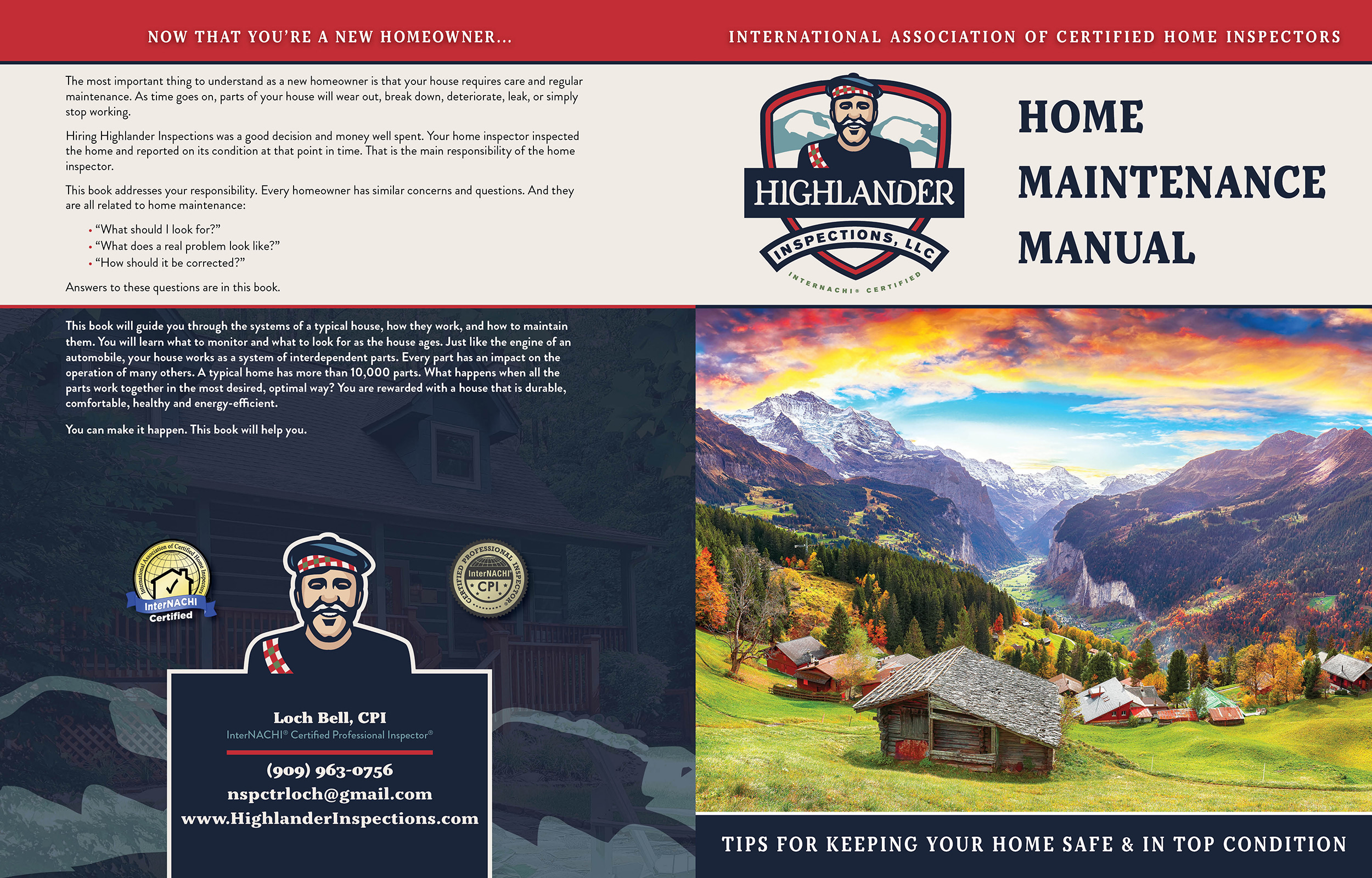 Custom Home Maintenance Book for Highlander Inspections
