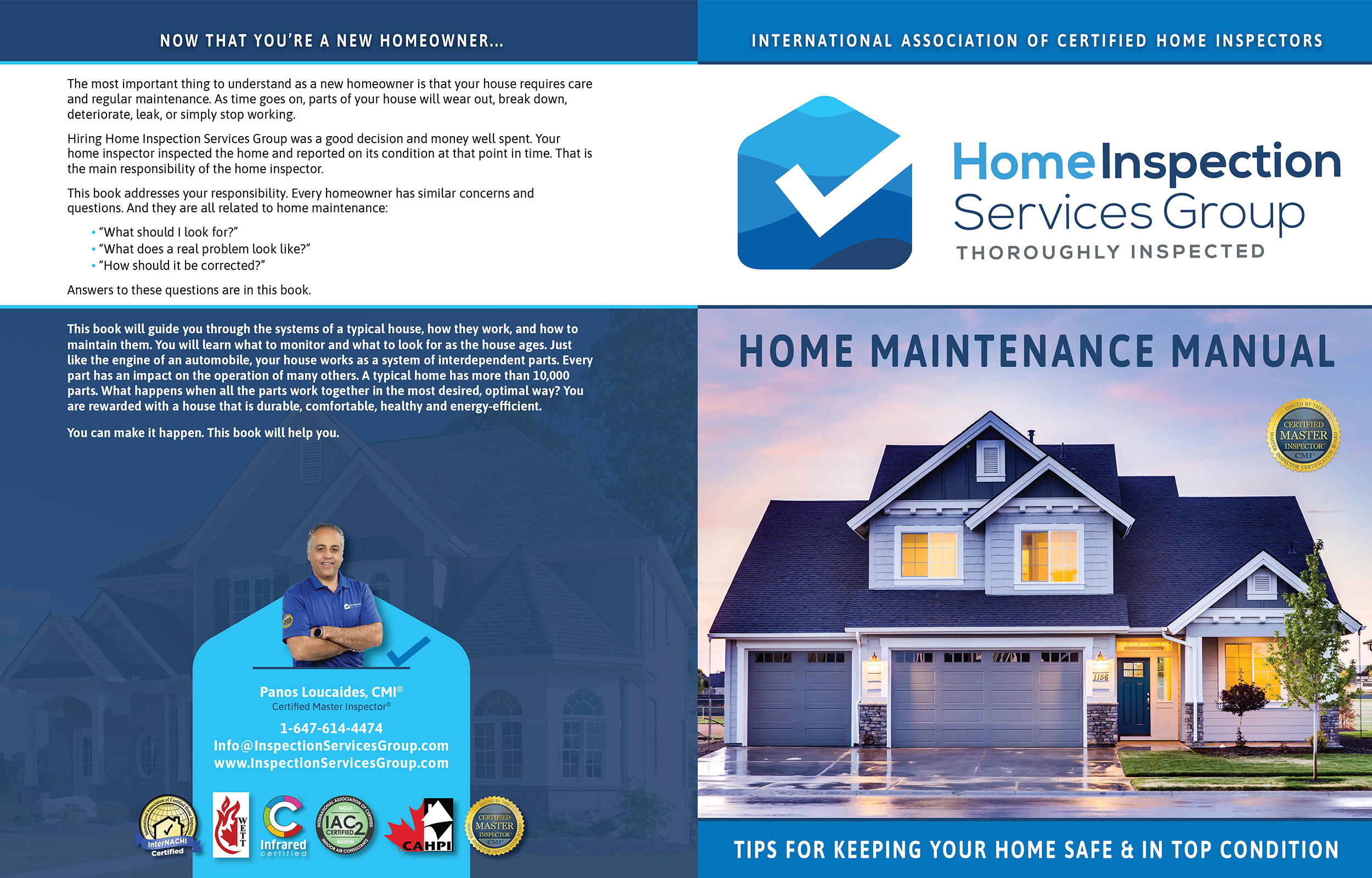 Custom Home Maintenance Book for Home Inspection Services Group