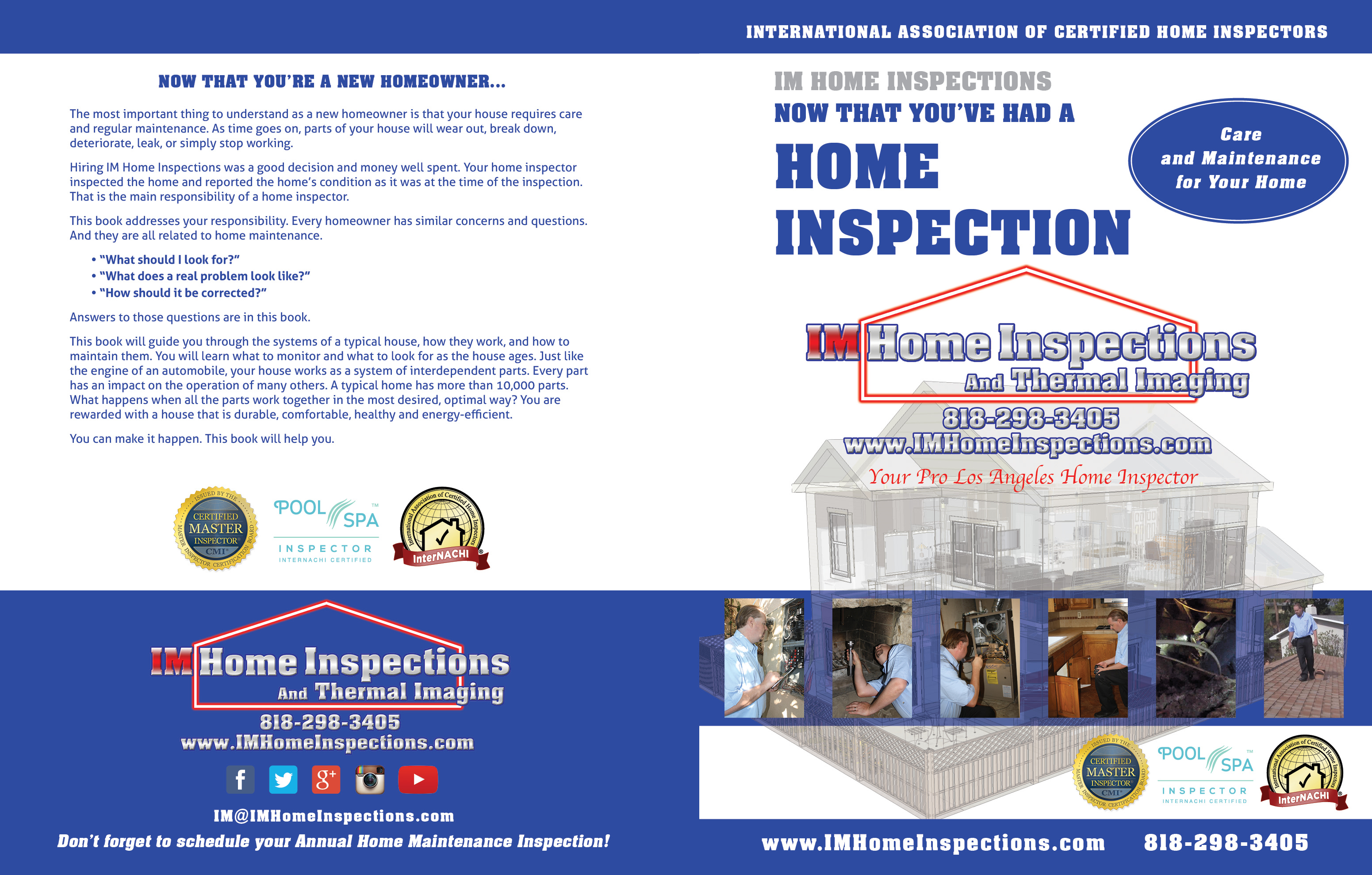 Custom Home Maintenance Book for IM Home Inspections