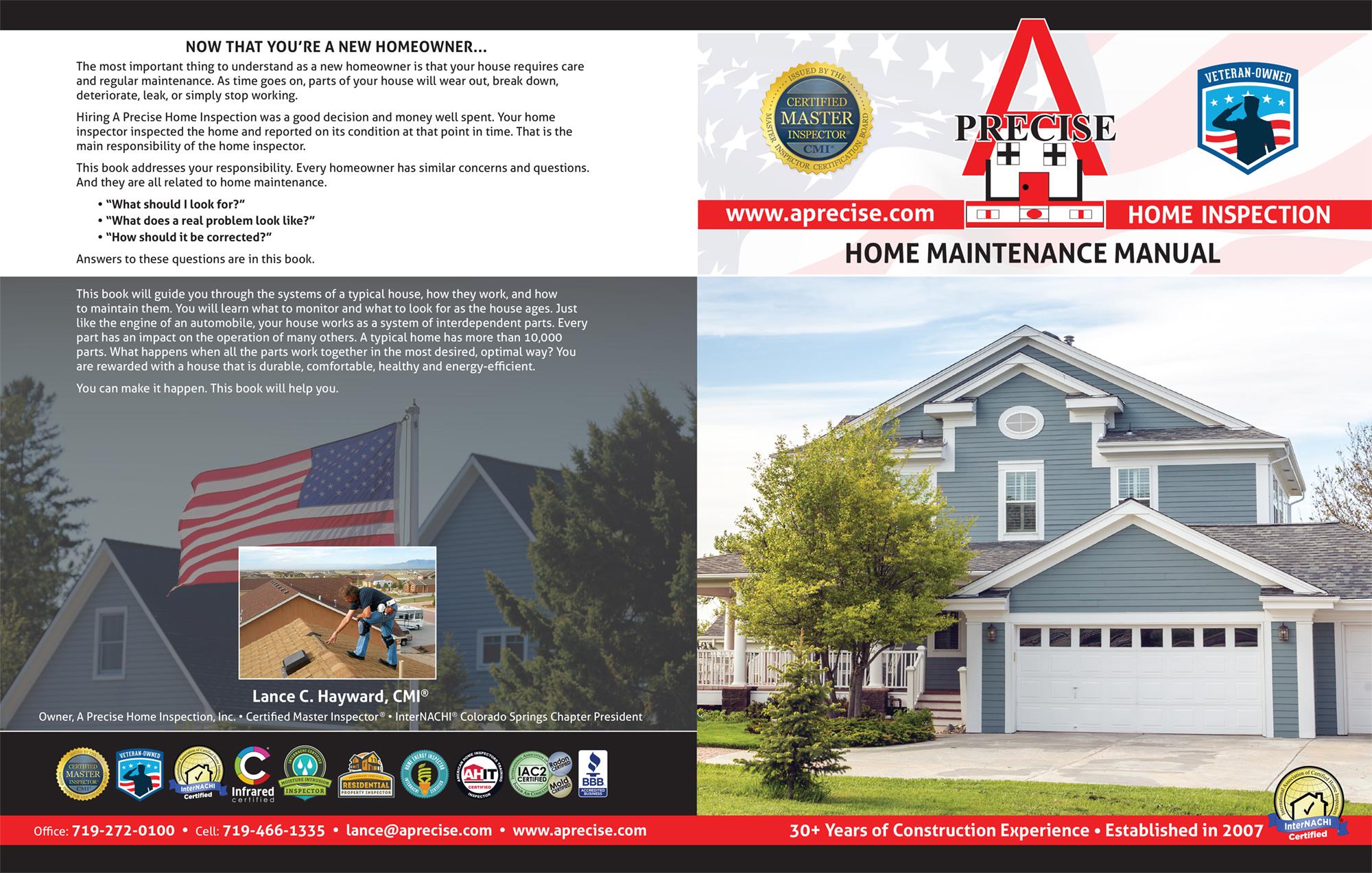 Custom Home Maintenance Books A Precise Home Inspection-Certified Master Inspector