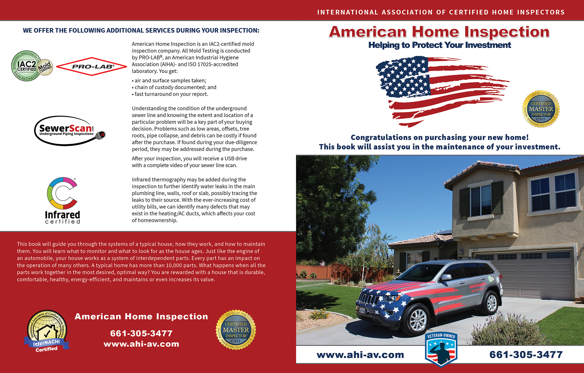 Custom Home Maintenance Book for American Home Inspection.