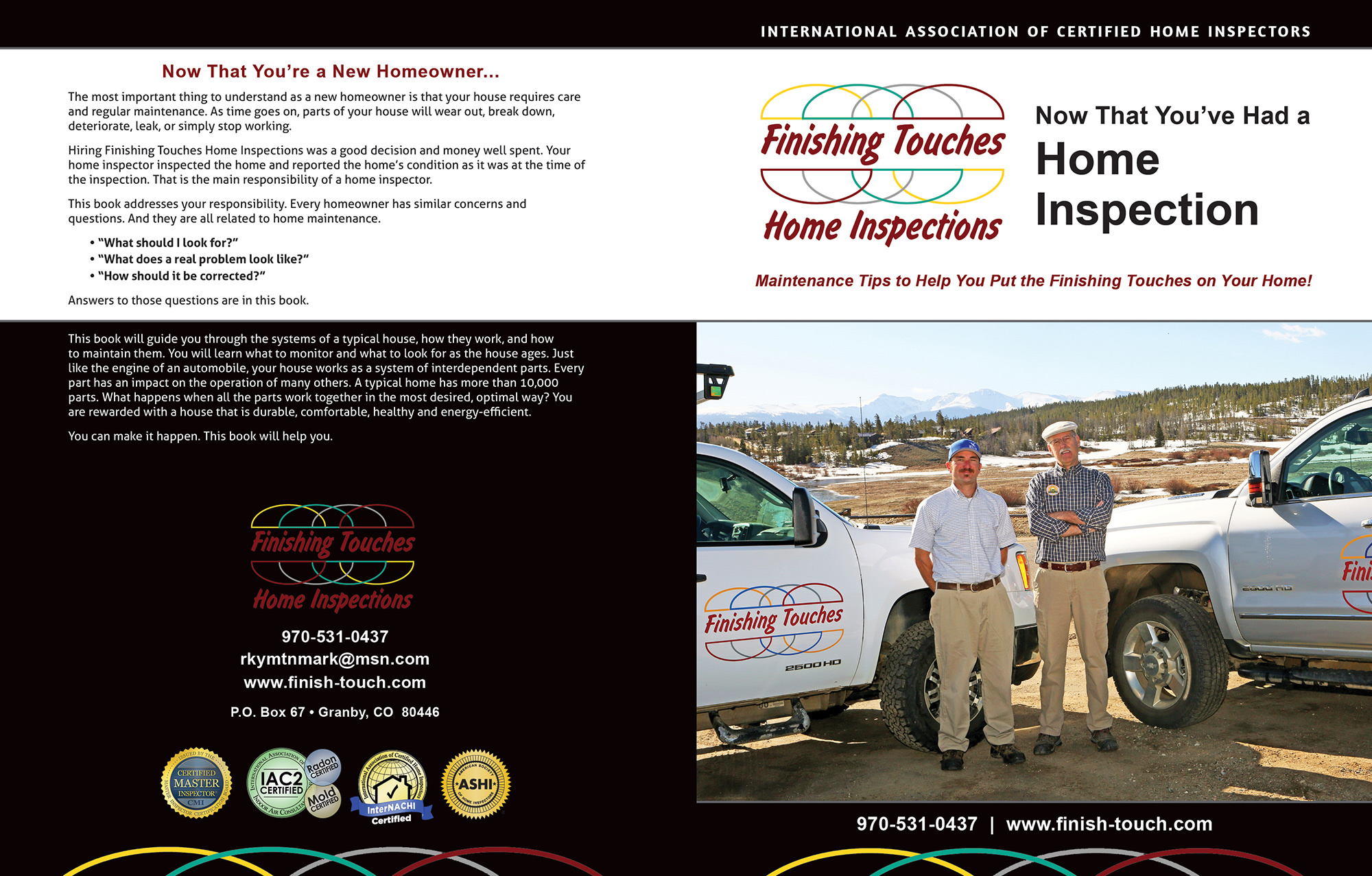 Custom Home Maintenance Book for Finishing Touches Home Inspections.