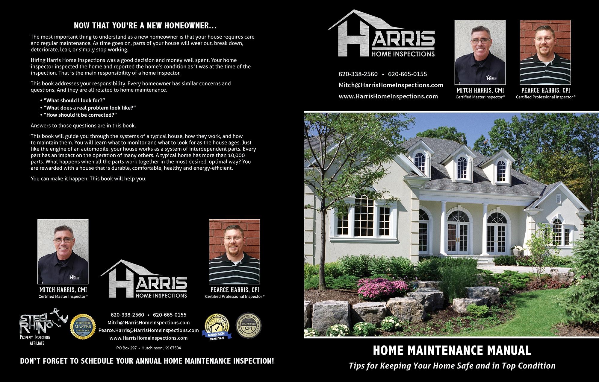 Custom Home Maintenance Book for Harris Home Inspections.
