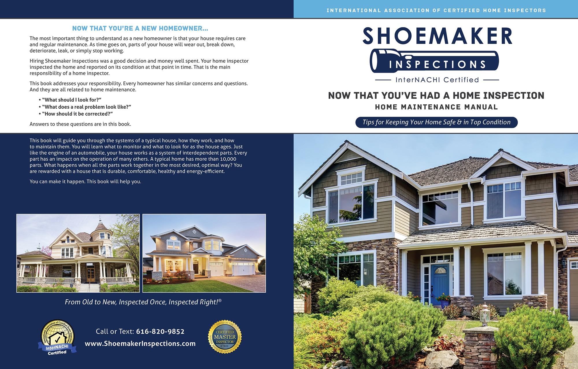 Custom Home Maintenance Book for Shoemaker Inspections.