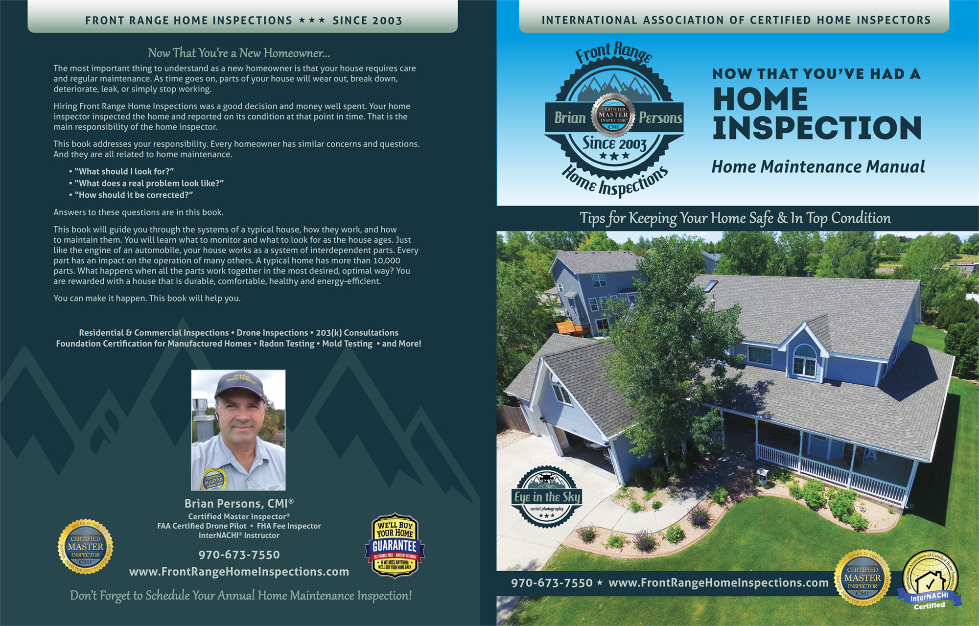 Custom Home Maintenance Books Front Range Home Inspection-Certified Master Inspector