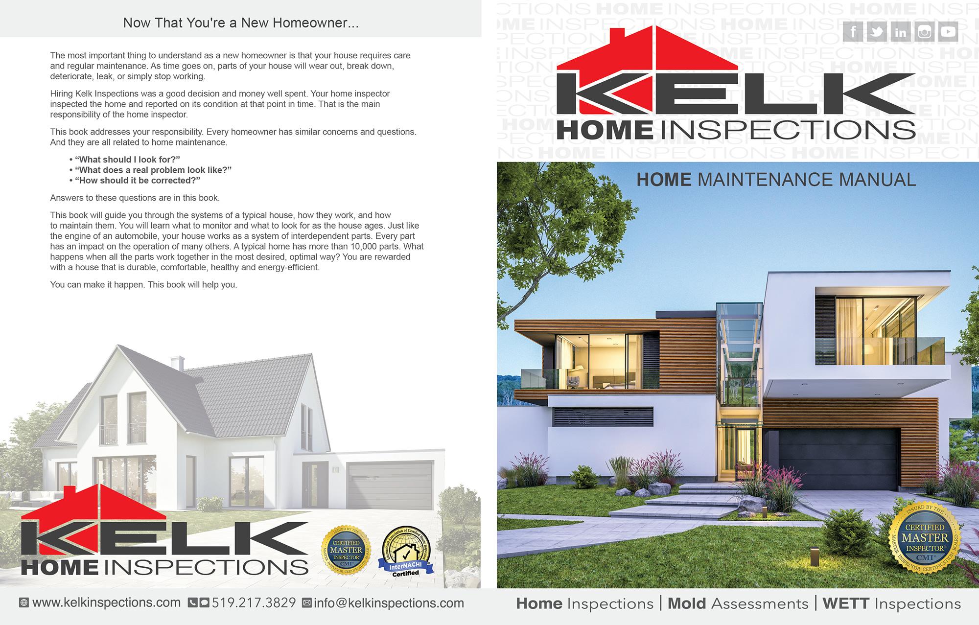 Custom Home Maintenance Book for Kelk Home Inspections