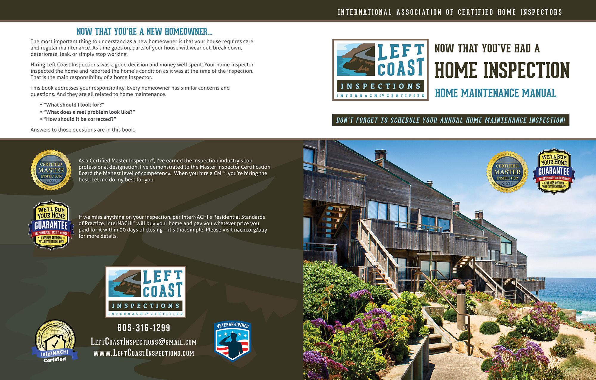 Custom Home Maintenance Book for Left Coast Inspections