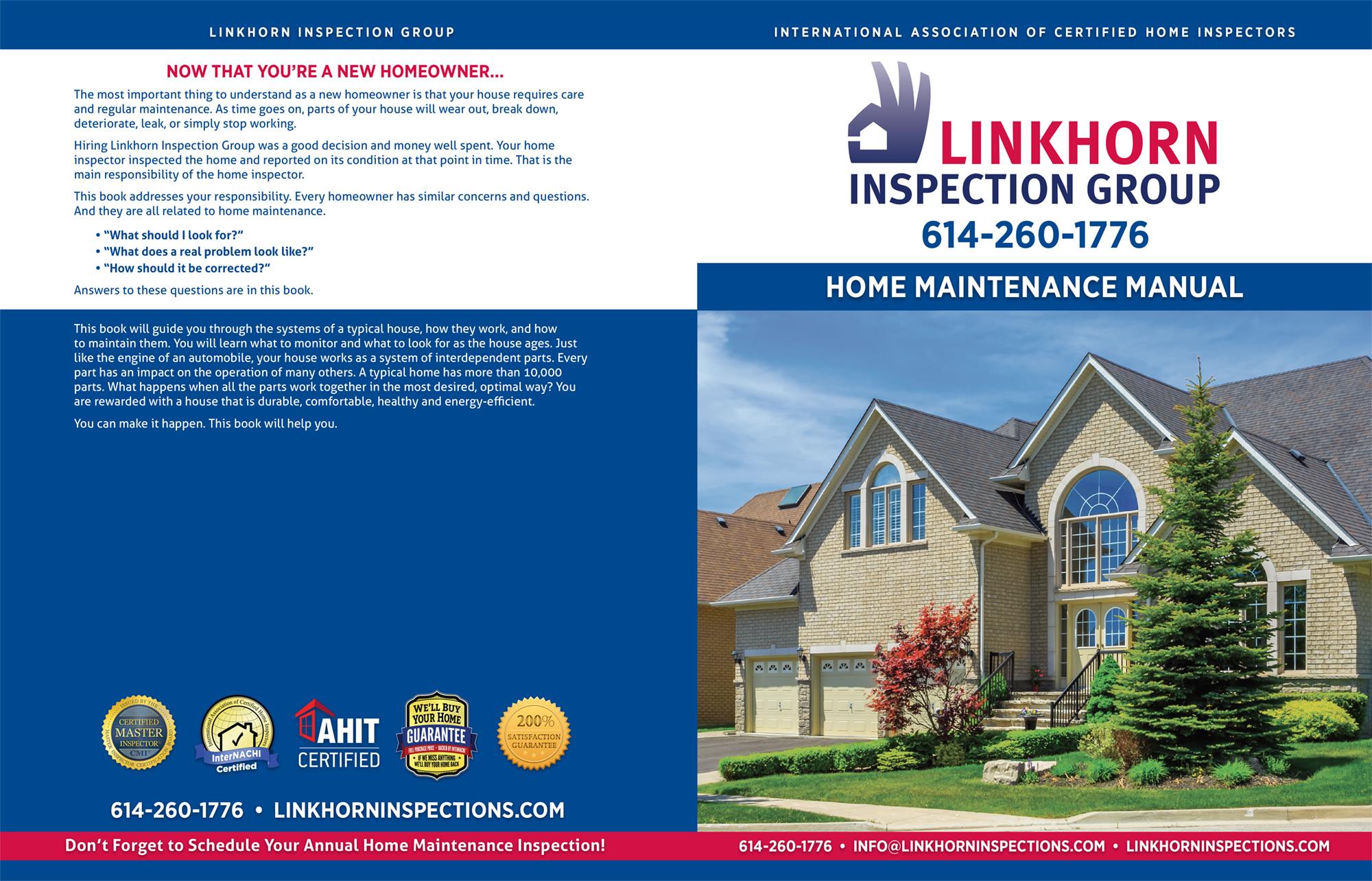 Custom Home Maintenance Books Linkhorn Inspection Group-Certified Master Inspector