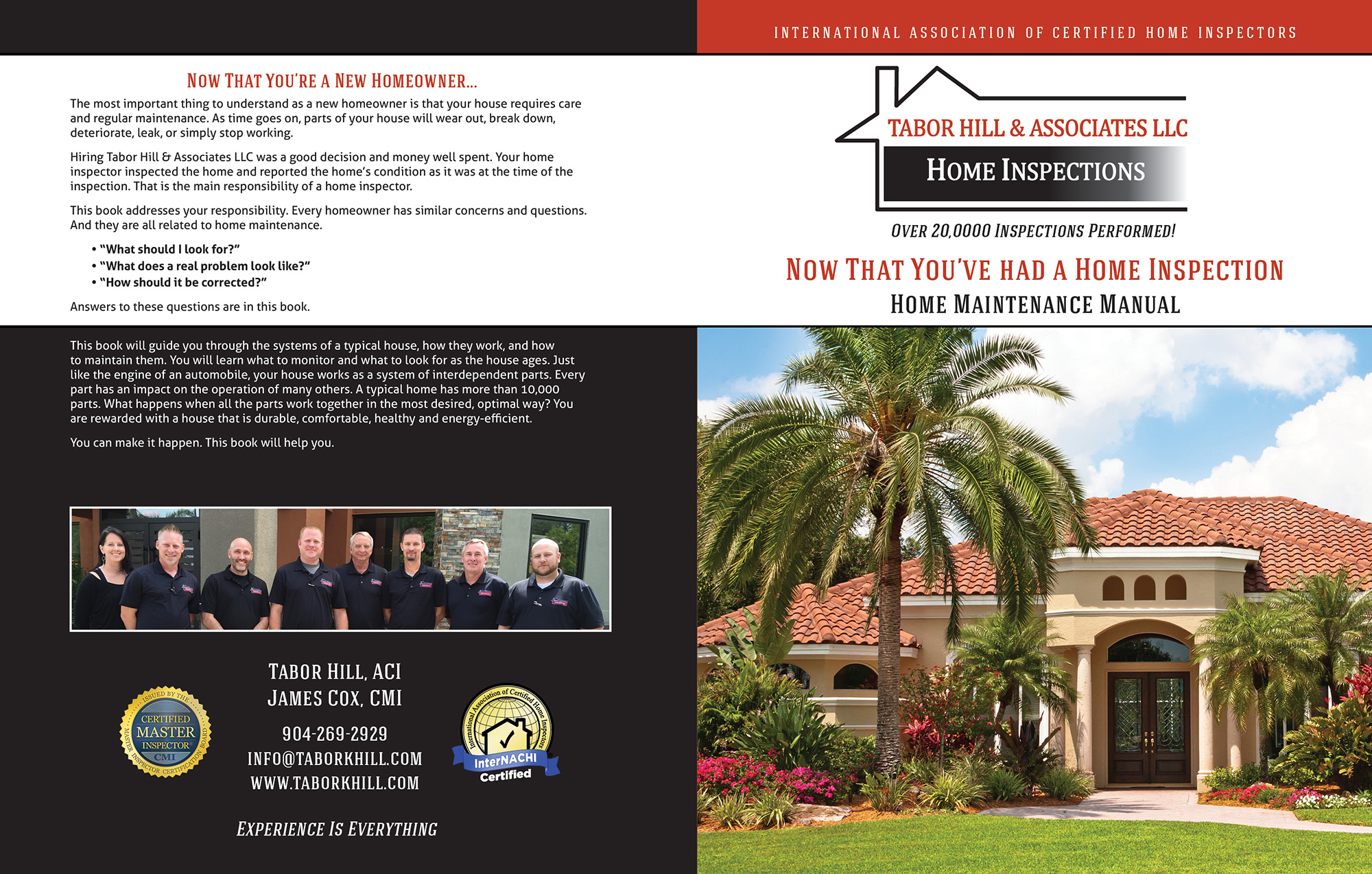 Custom Home Maintenance Book for Tabor Hill Home Inspections.