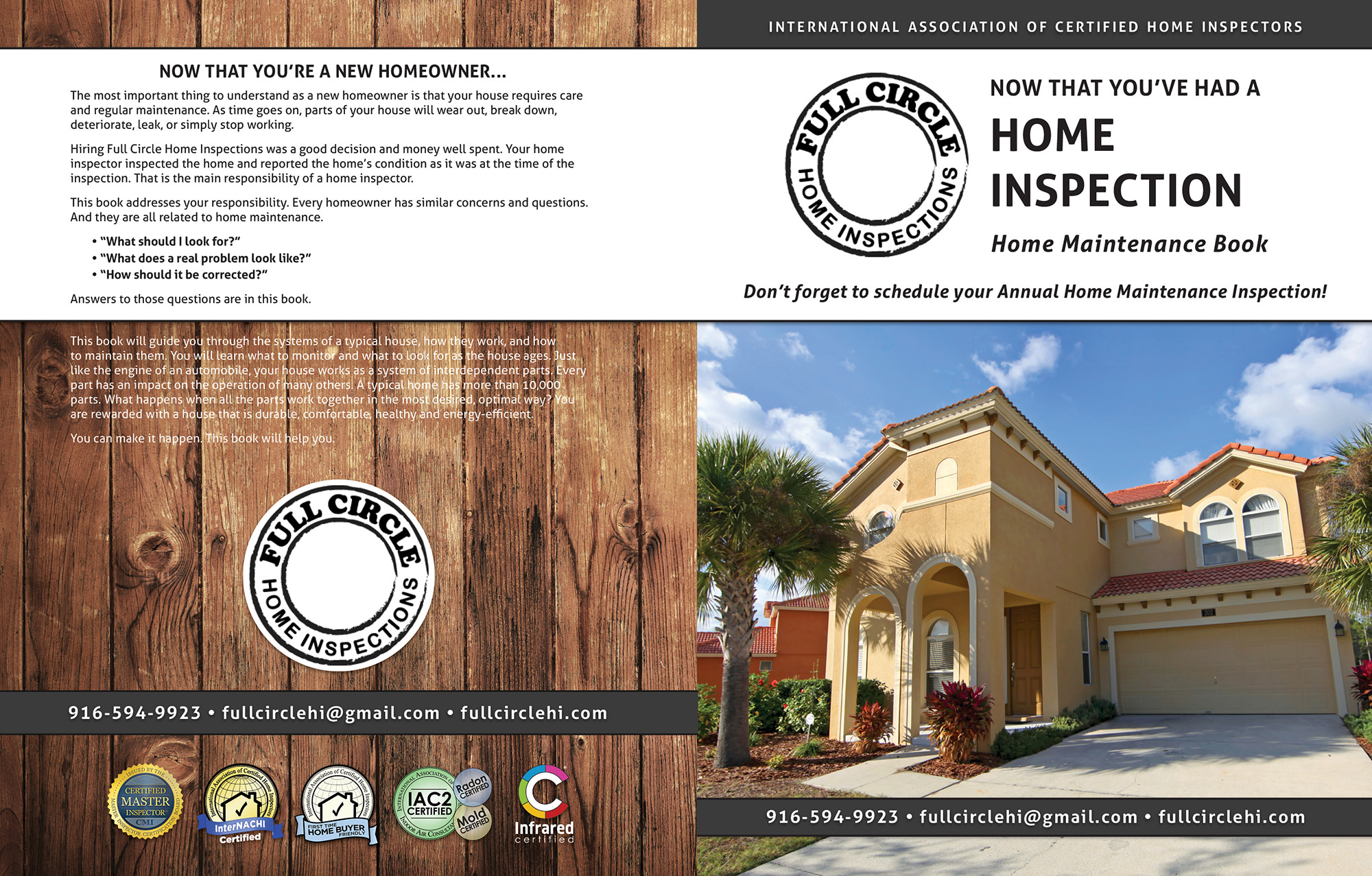 Custom Home Maintenance Book for Full Circle Home Inspections.