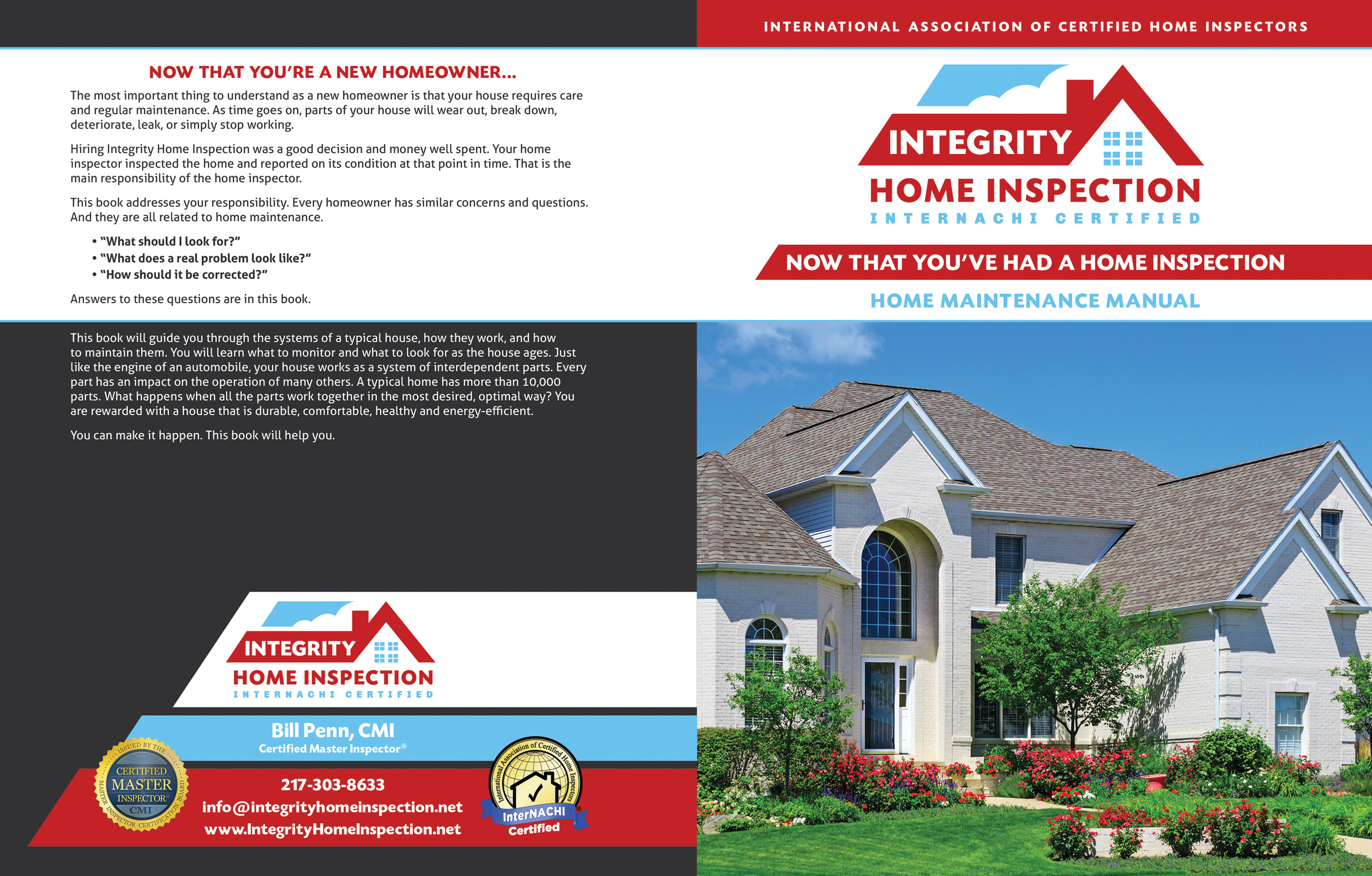 Custom Home Maintenance Book for Integrity Home Inspections.