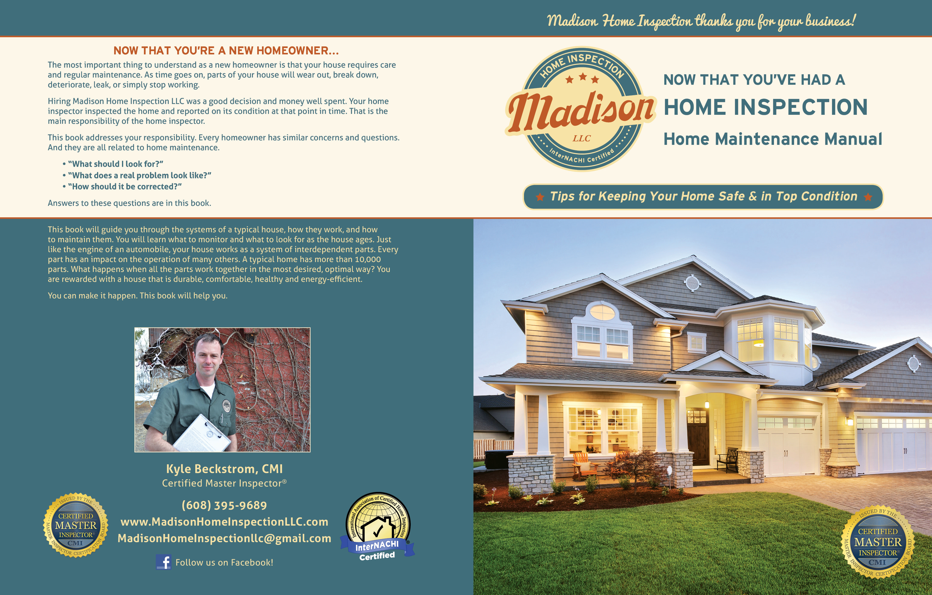 Custom Home Maintenance Book for Madison Home Inspection.