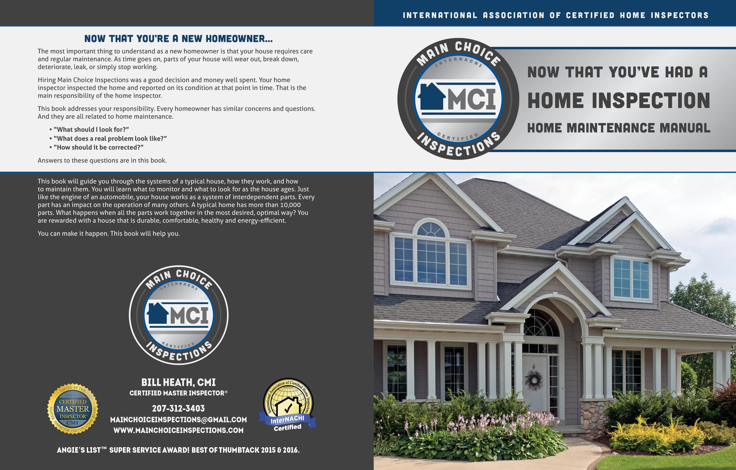 Custom Home Maintenance Book for Main Choice Inspections
