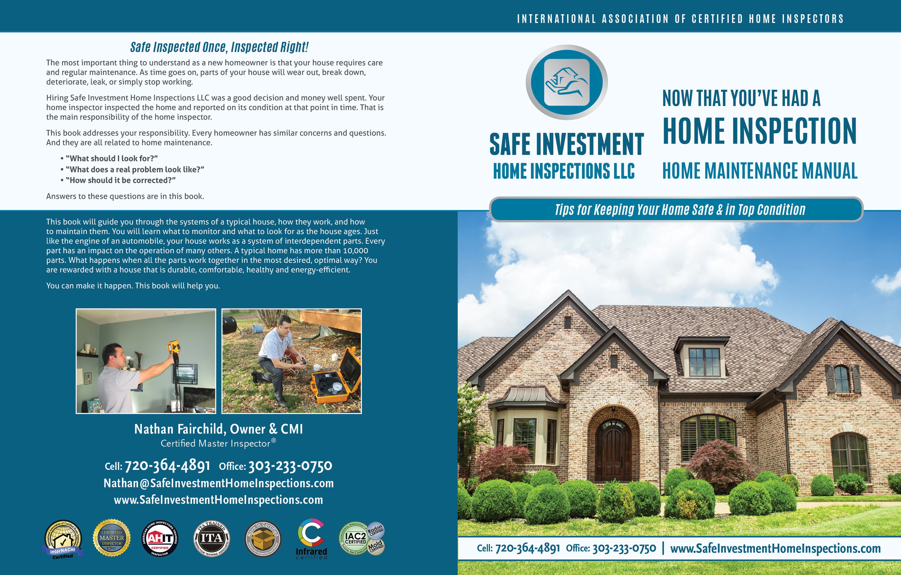 Custom Home Maintenance Book for Safe Investment Home Inspections