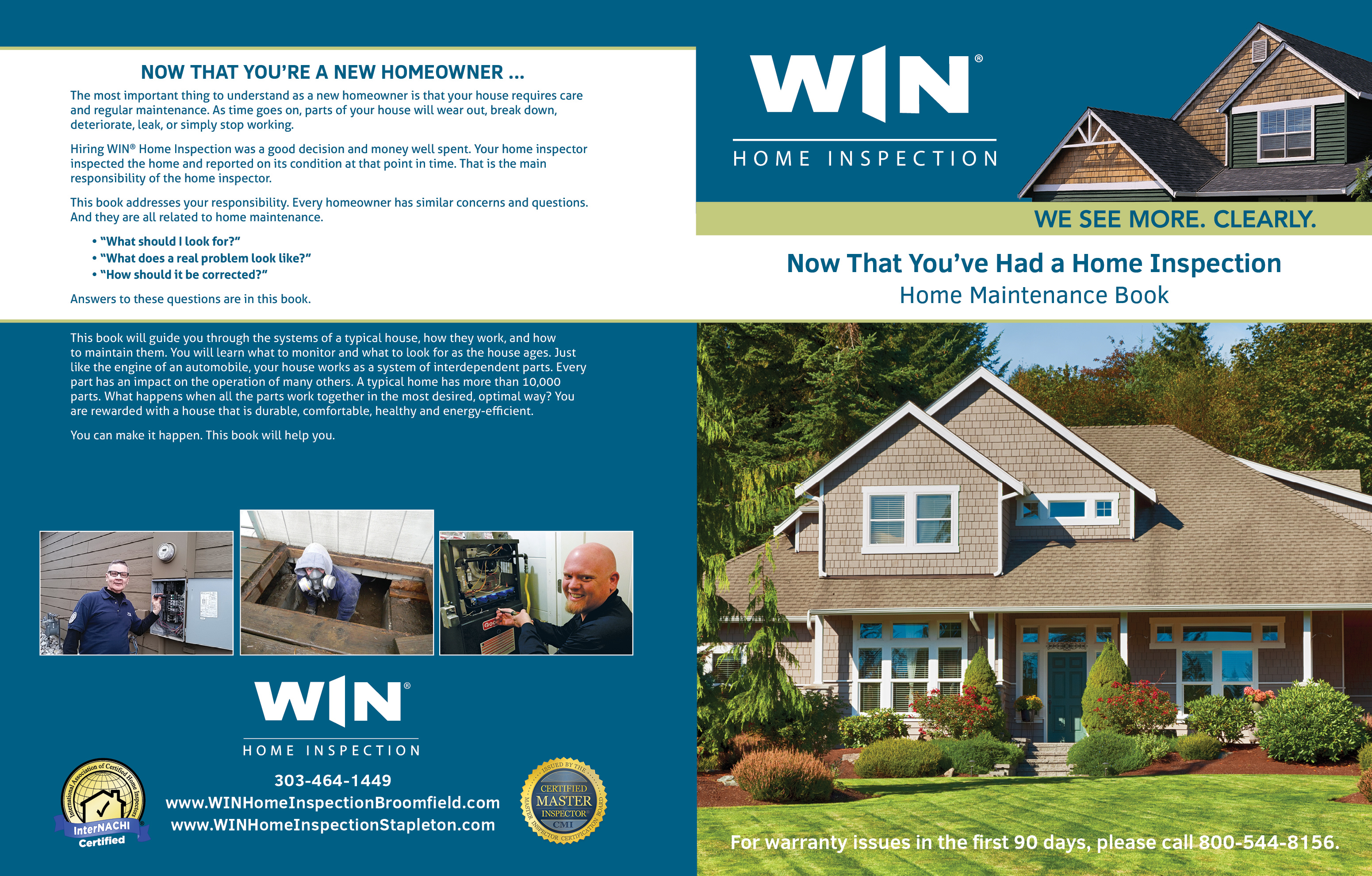 Custom Home Maintenance Book for WIN Home Inspection