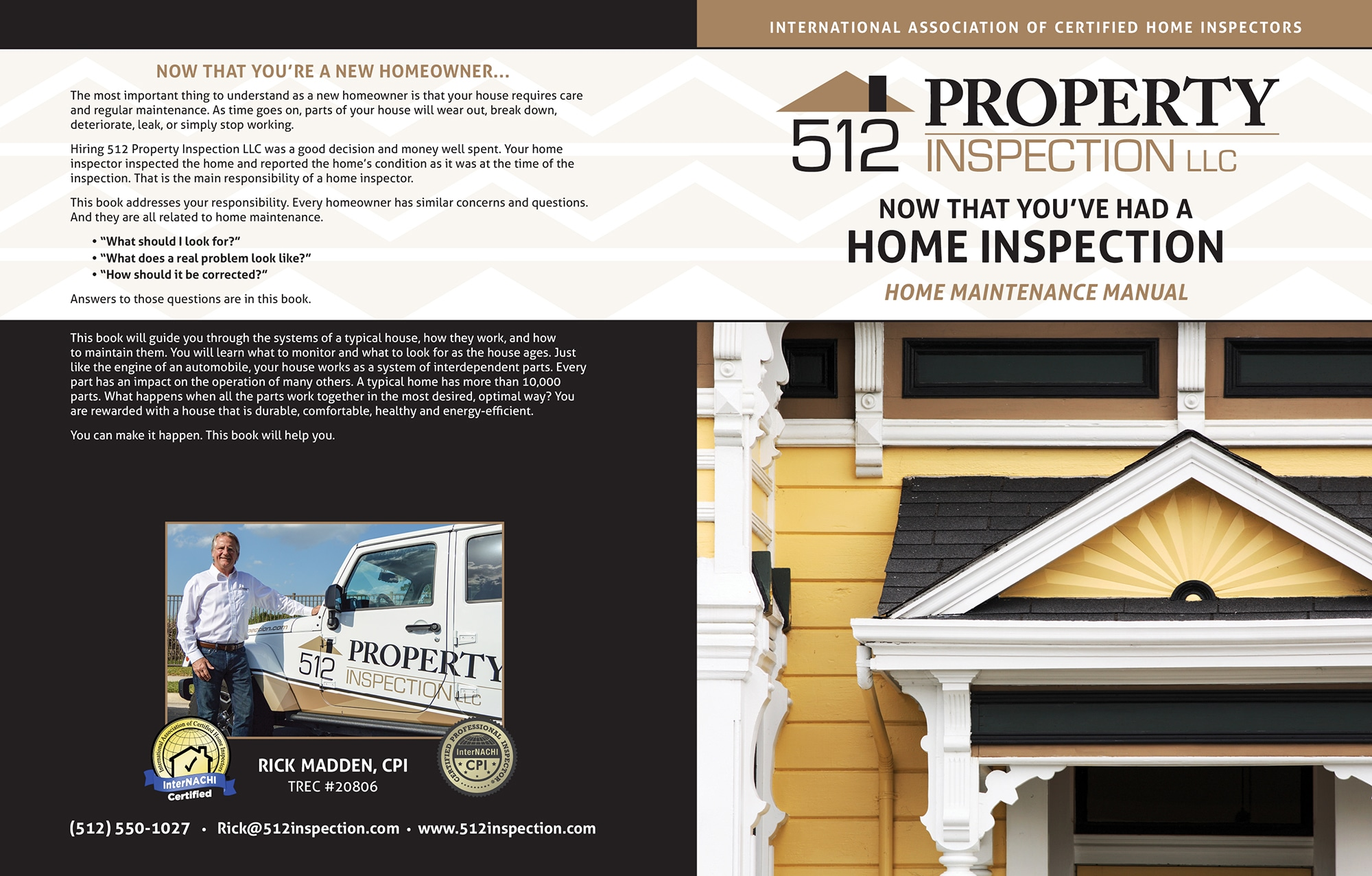 Custom Home Maintenance Book for 512 Property Inspection.