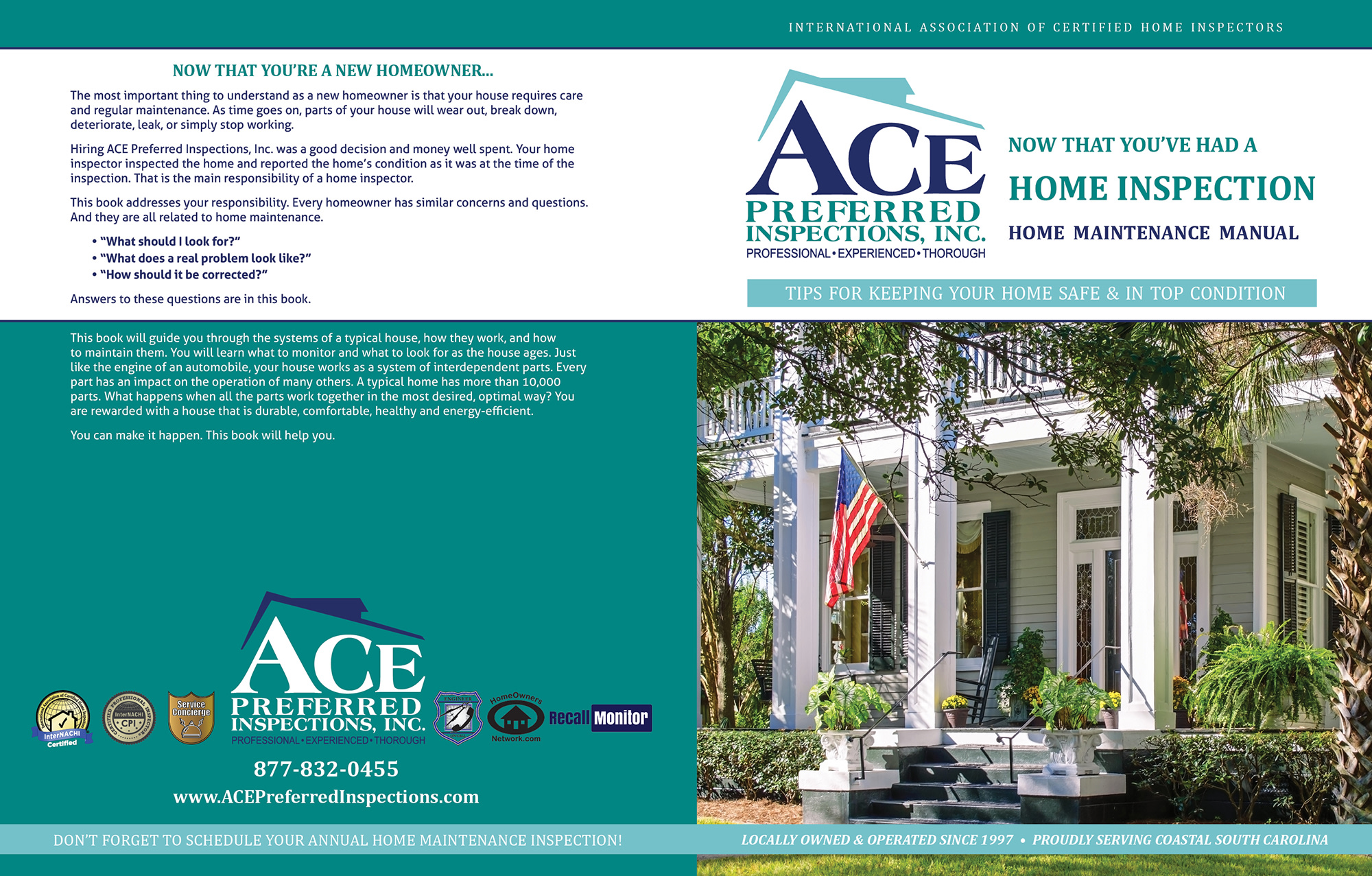 Custom Home Maintenance Book for Ace Preferred Inspections.