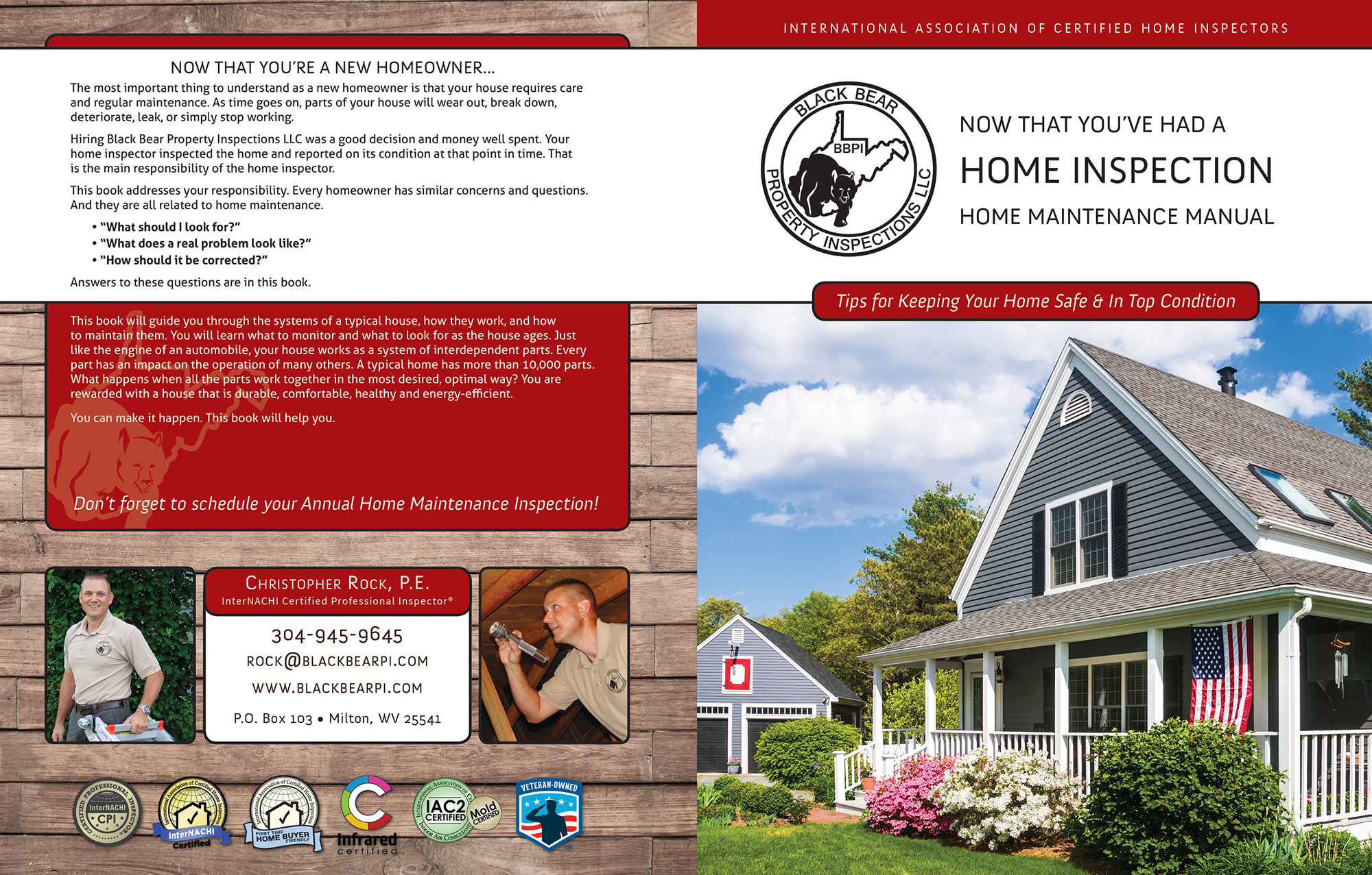 Custom Home Maintenance Book for First Rate Home Inspections.