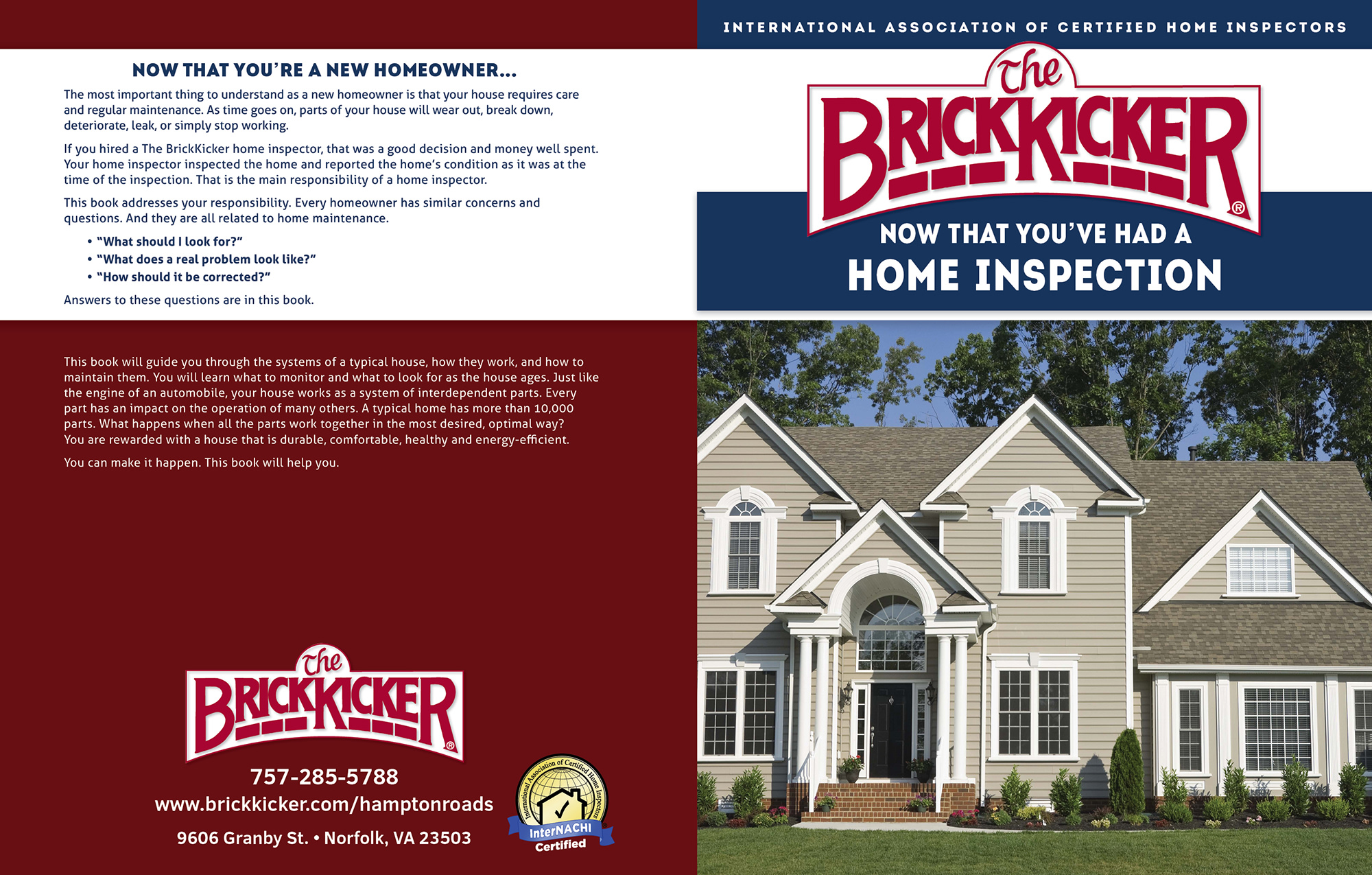Custom Home Maintenance Book for BrickKicker.