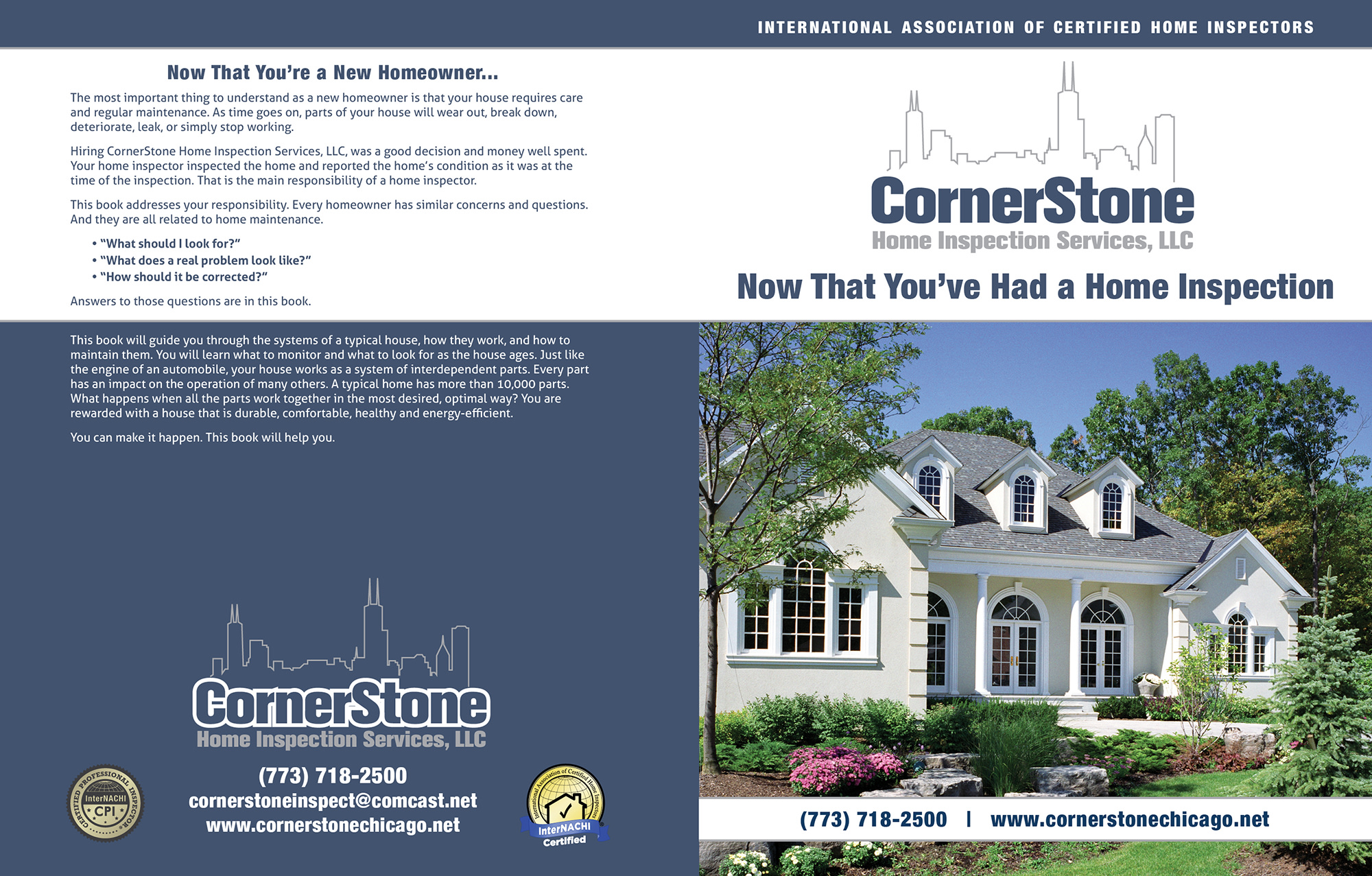 Custom Home Maintenance Book for Cornerstone Home Inspection Services.