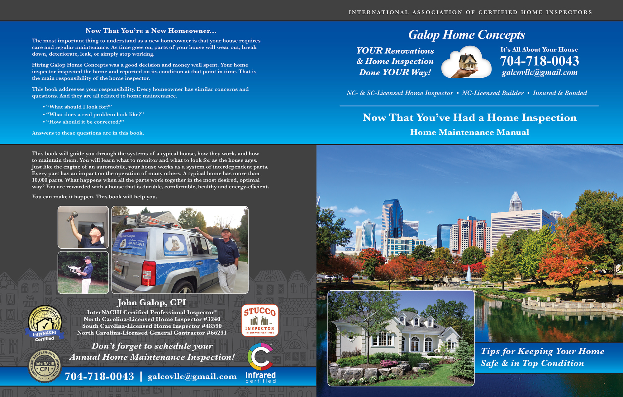 Custom Home Maintenance Book for Galop Home Concepts.