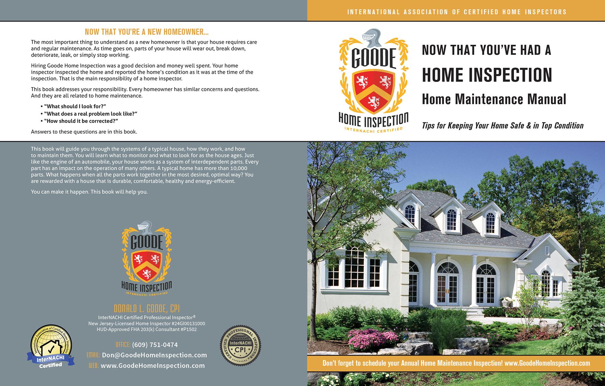 Custom Home Maintenance Book for Goode Home Inspection.