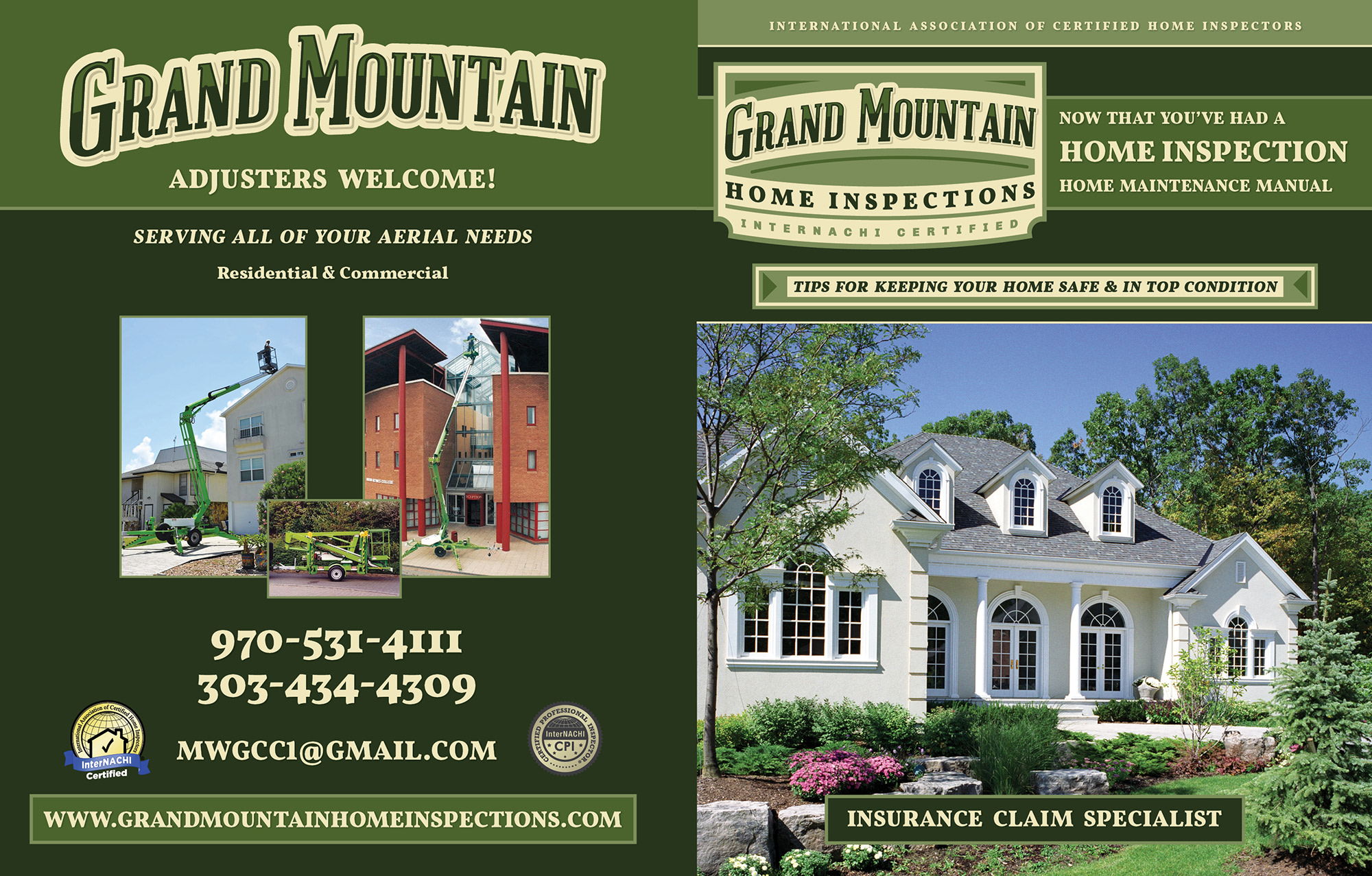 Custom Home Maintenance Book for Green Mountain Home Inspections.