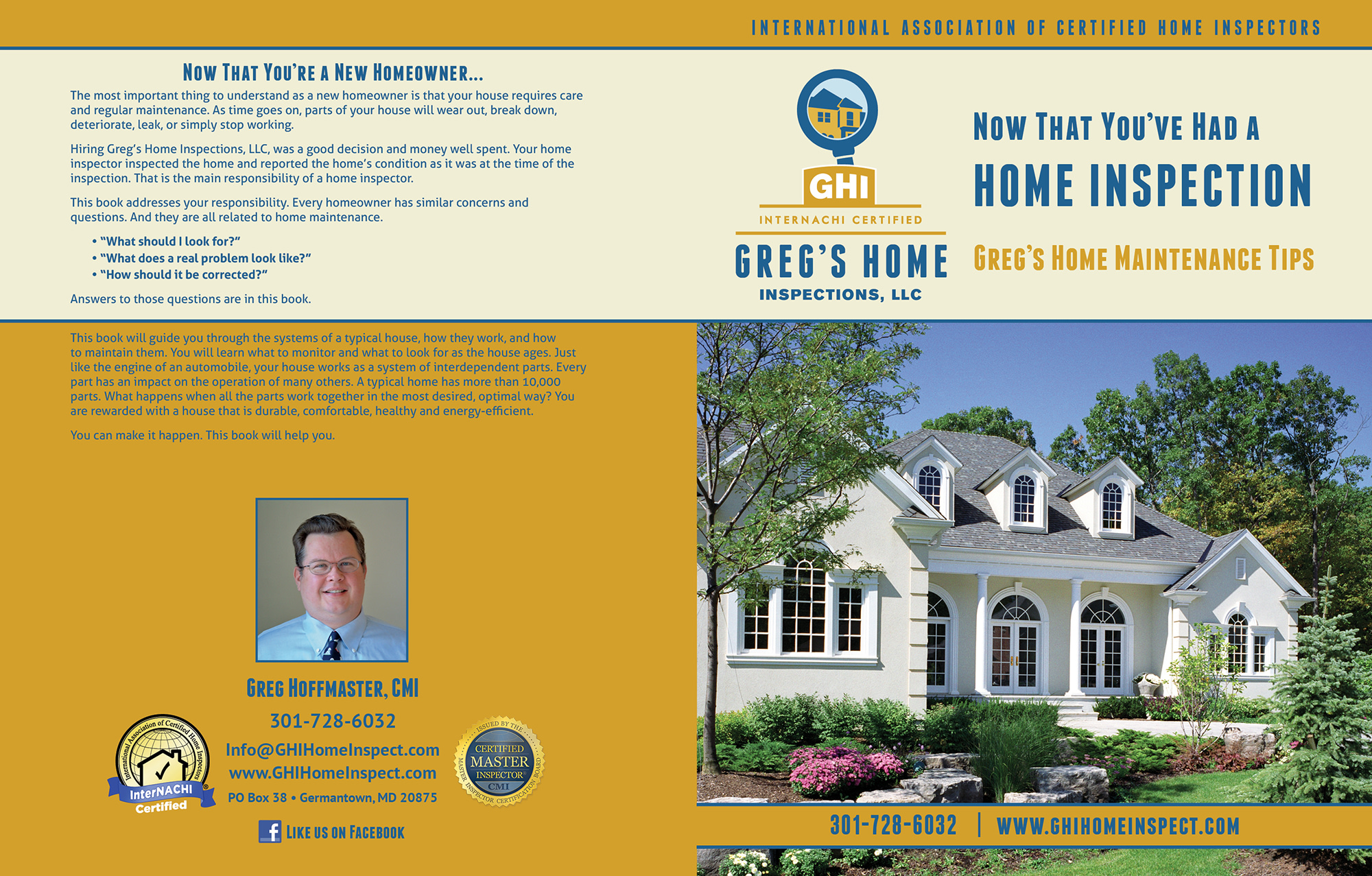 Custom Home Maintenance Book for Greg's Home Inspections.