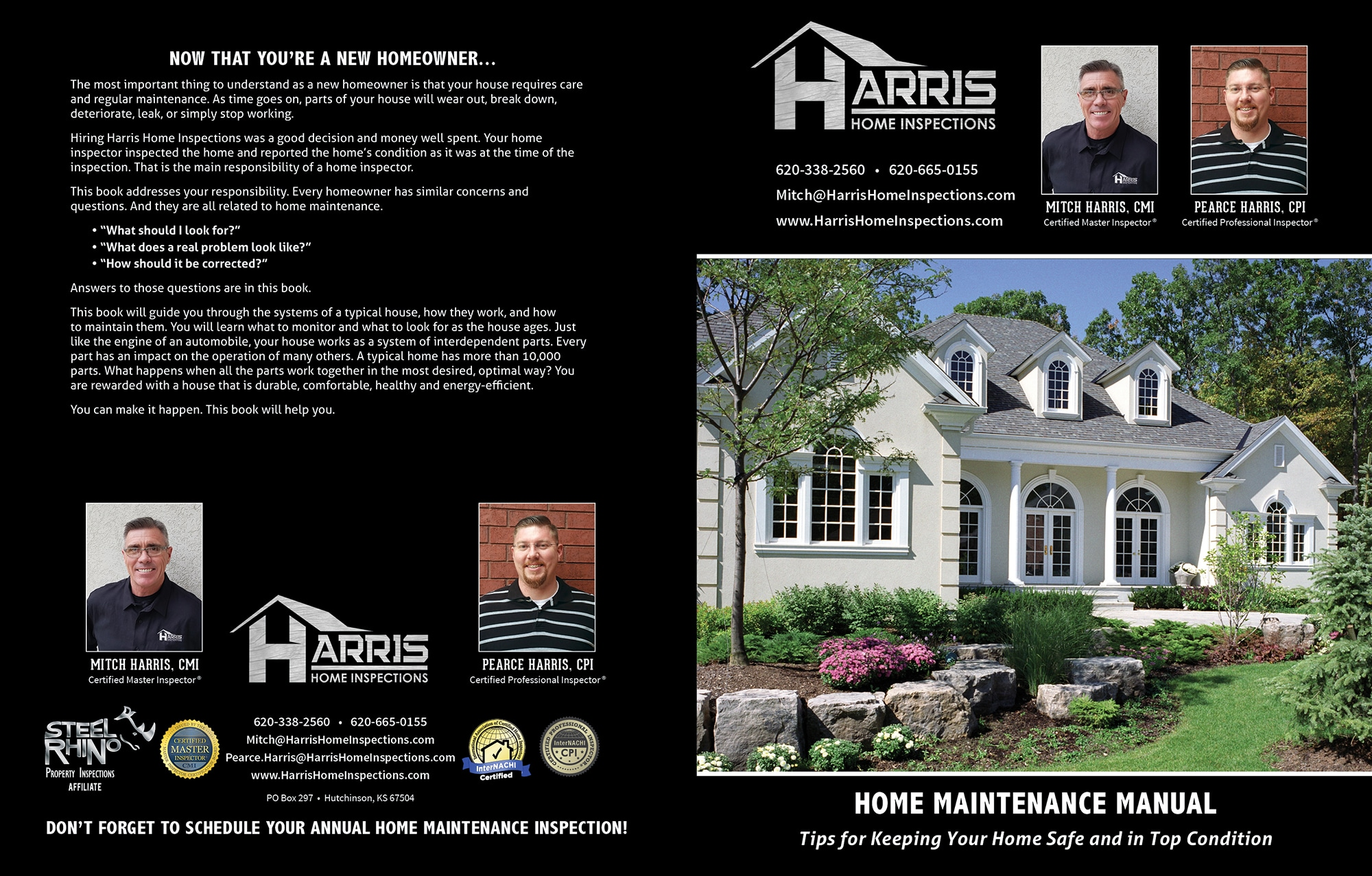 Custom Home Maintenance Book for Harris Home Inspections