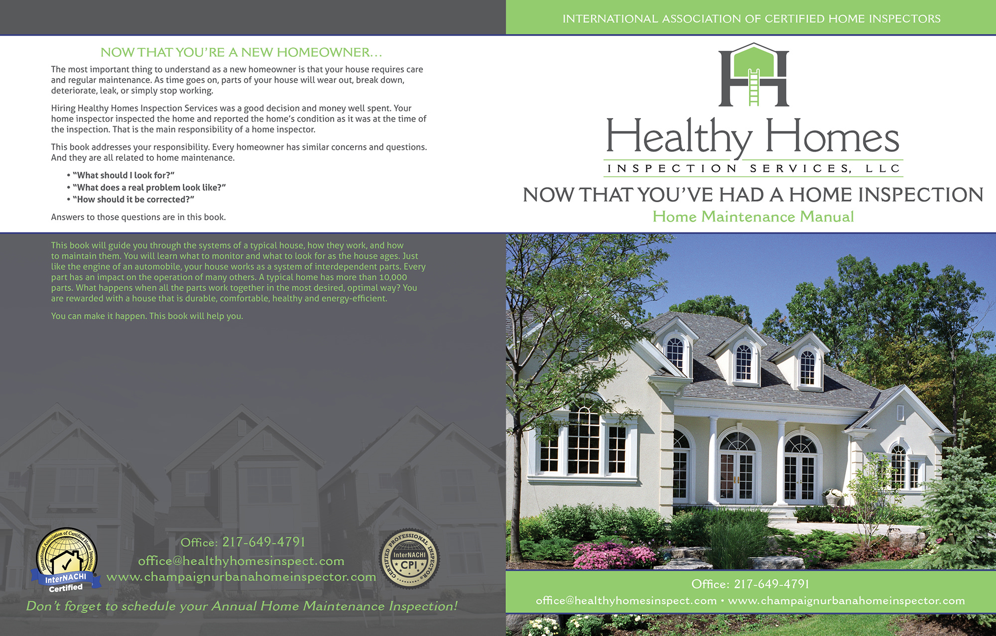 Custom Home Maintenance Book for Healthy Homes Inspection Services.