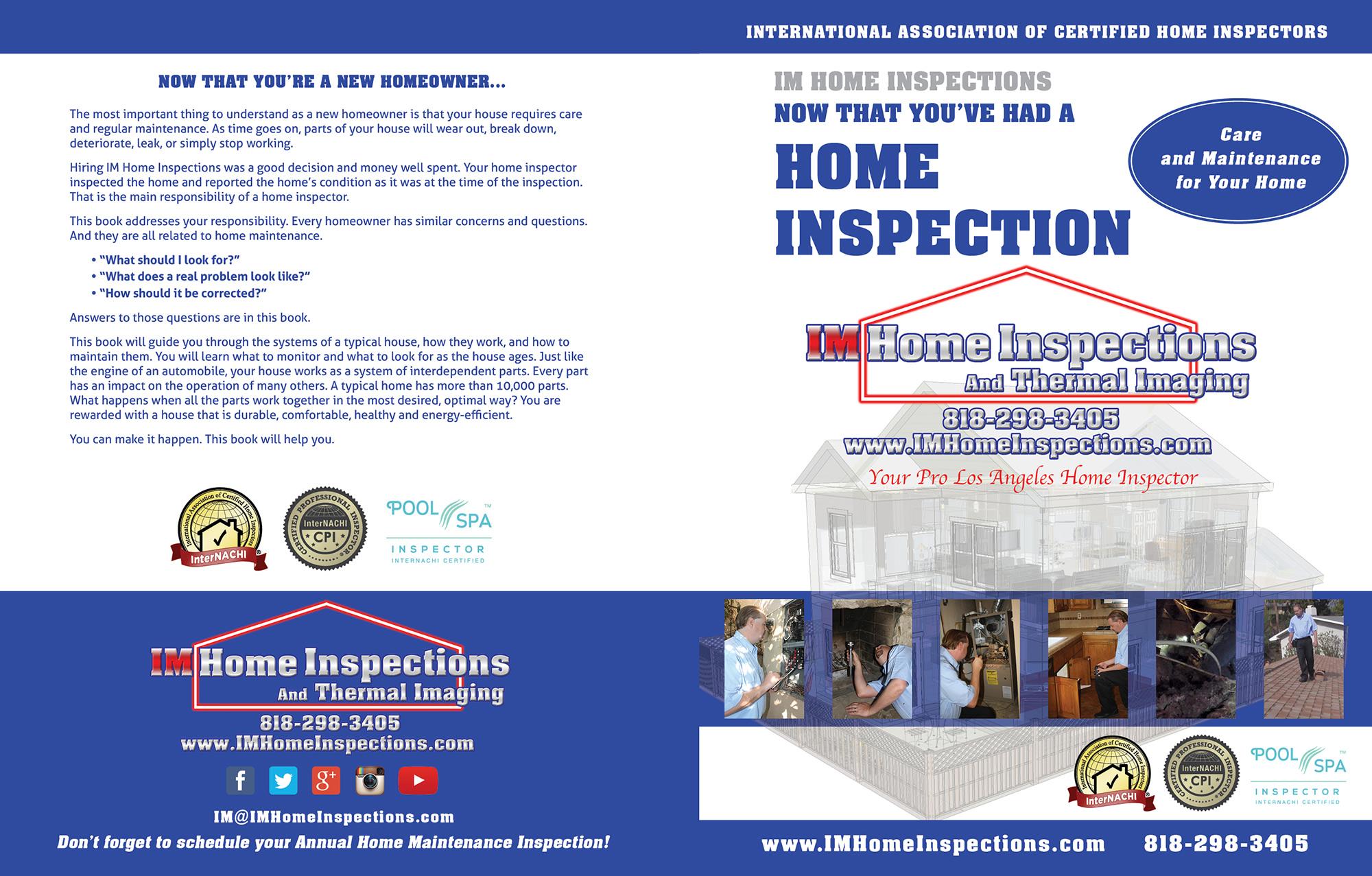 Custom Home Maintenance Book for IM Home Inspections.