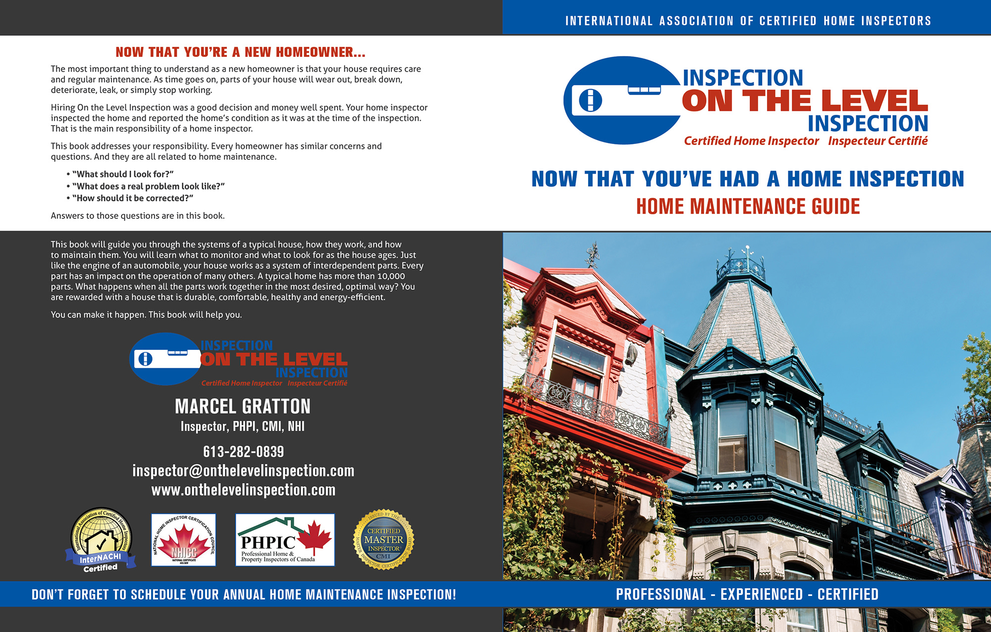 Custom Home Maintenance Book for On The Level Inspection.