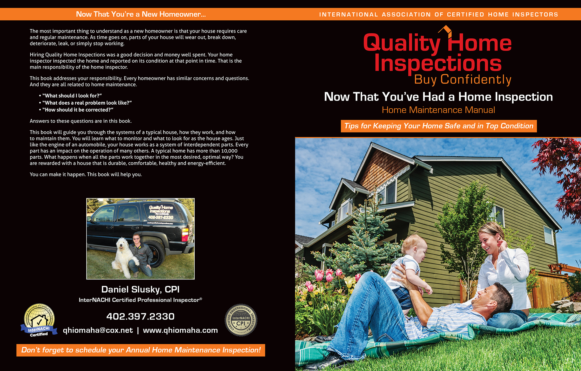 Custom Home Maintenance Book for Quality Home Inspections.