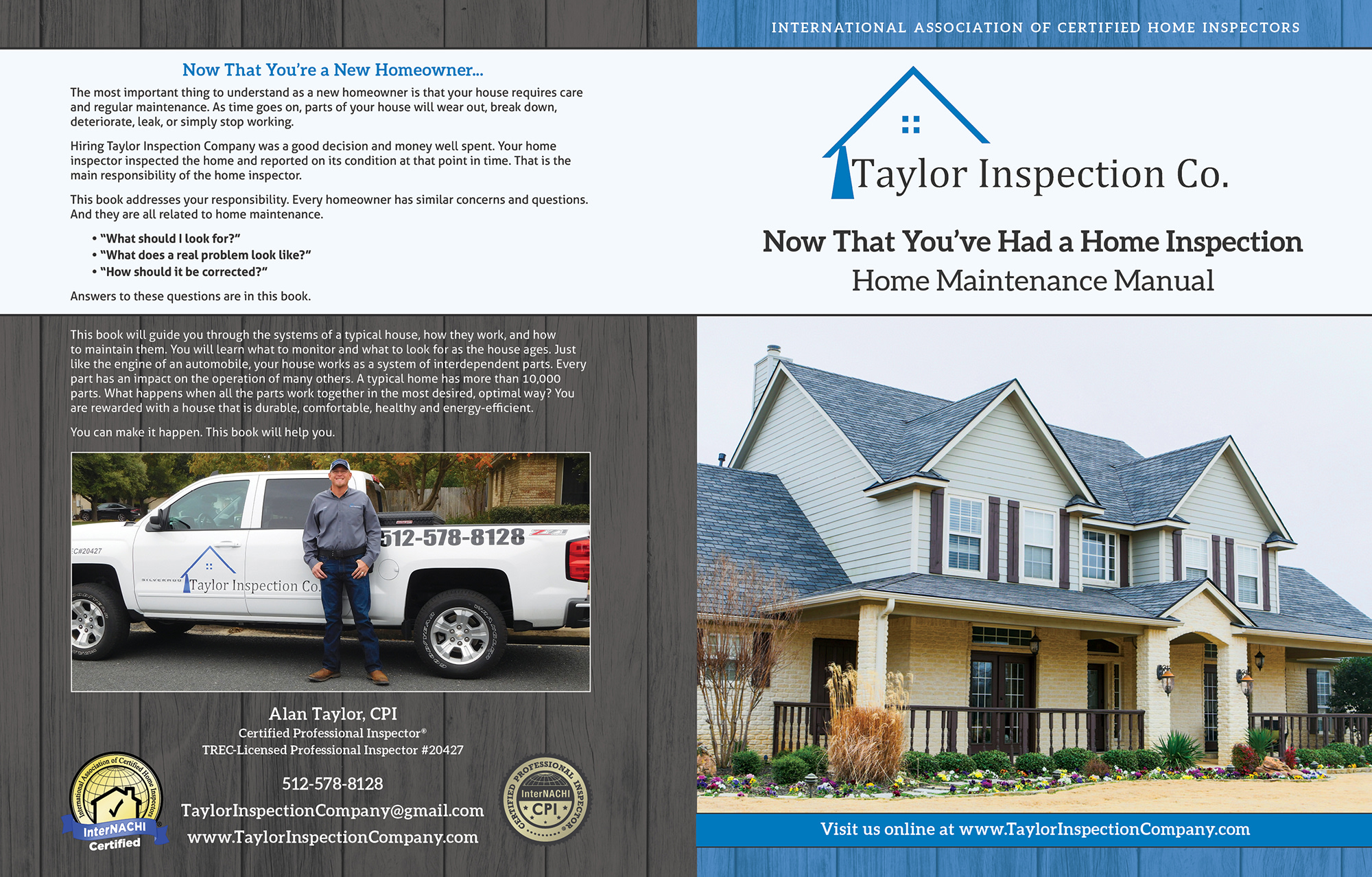 Custom Home Maintenance Book for Taylor Inspection.