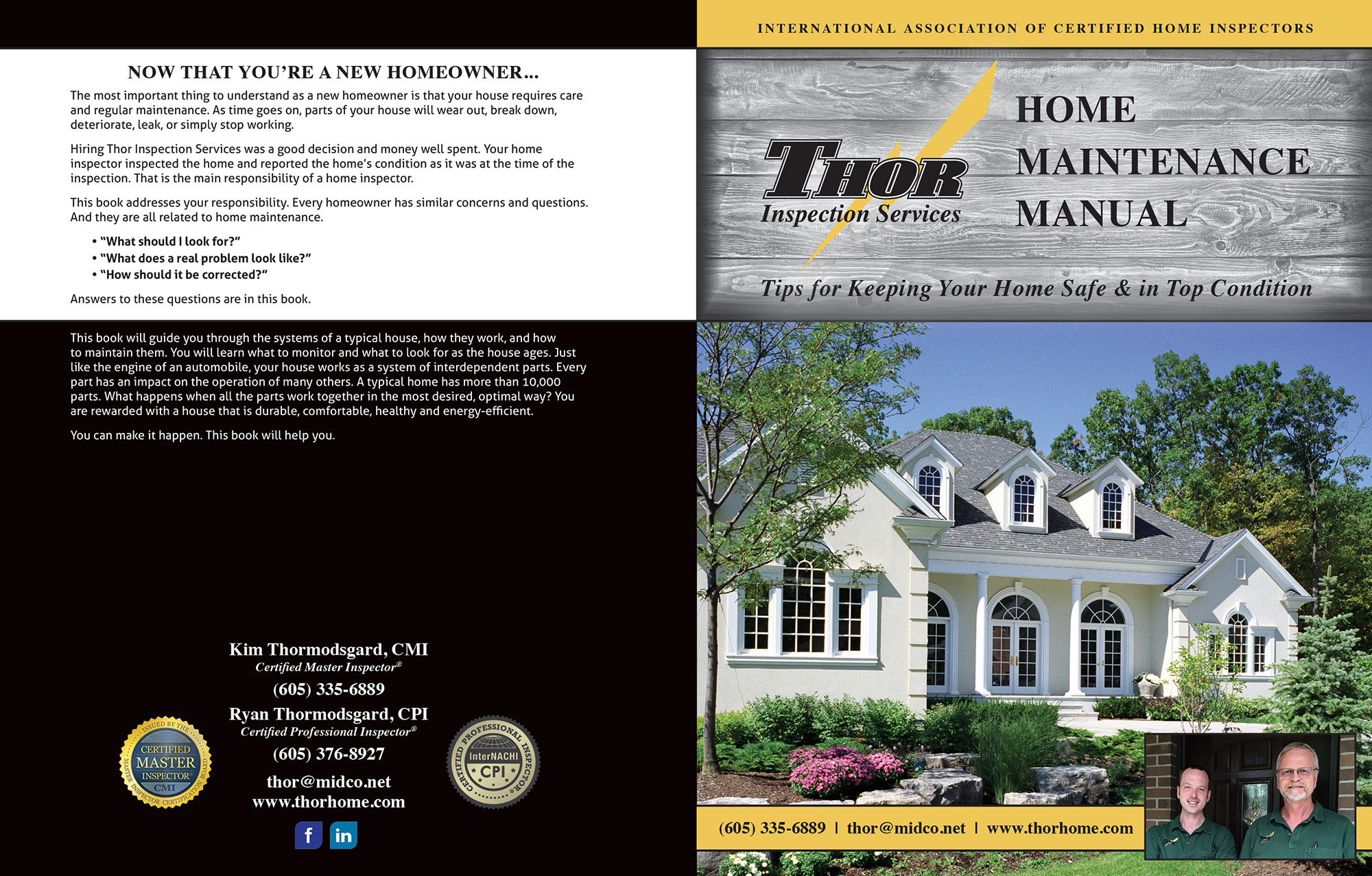 Custom Home Maintenance Book for Thor Inspection Services.
