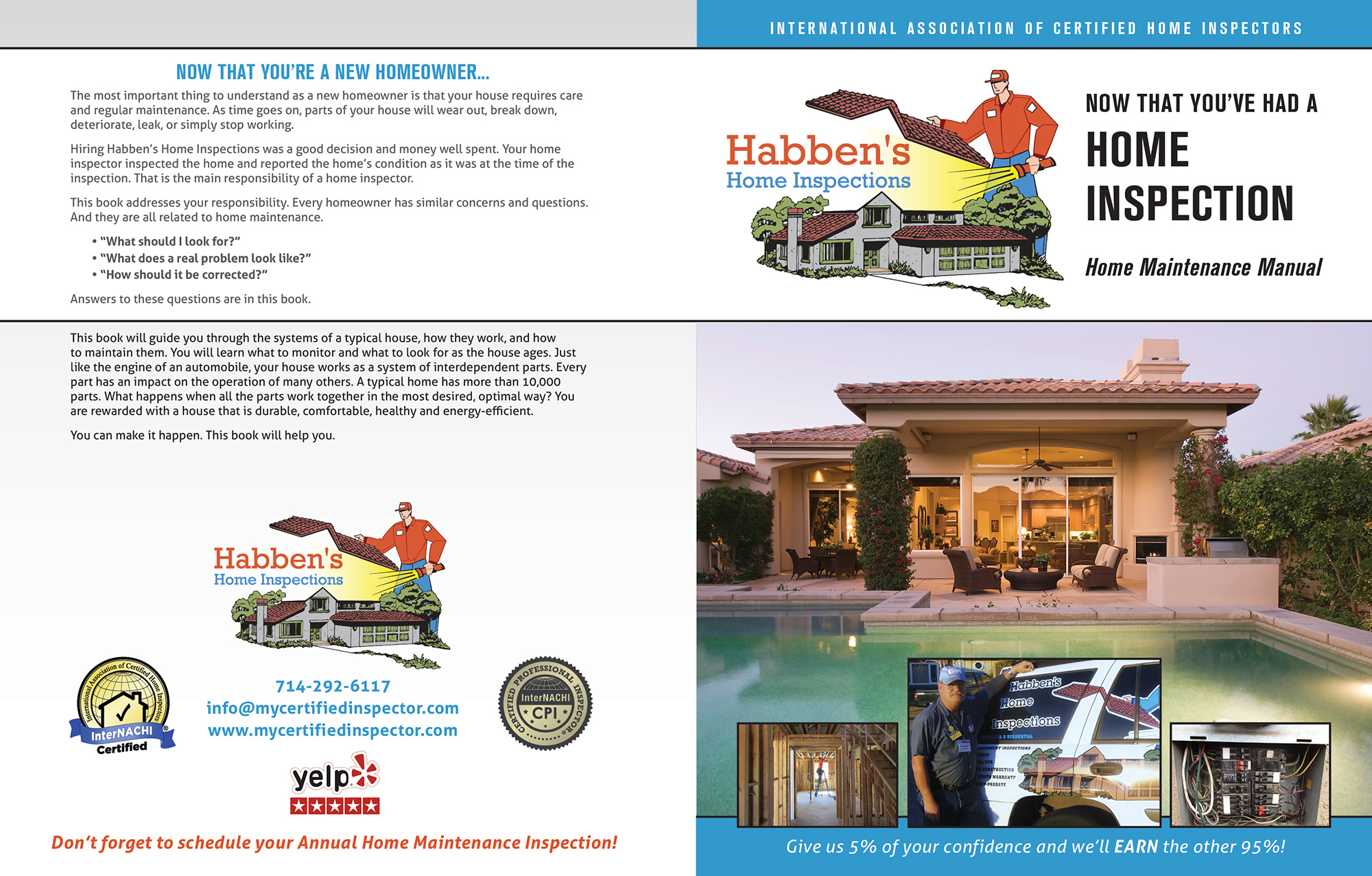 Custom Home Maintenance Book for Habben's Home Inspections.