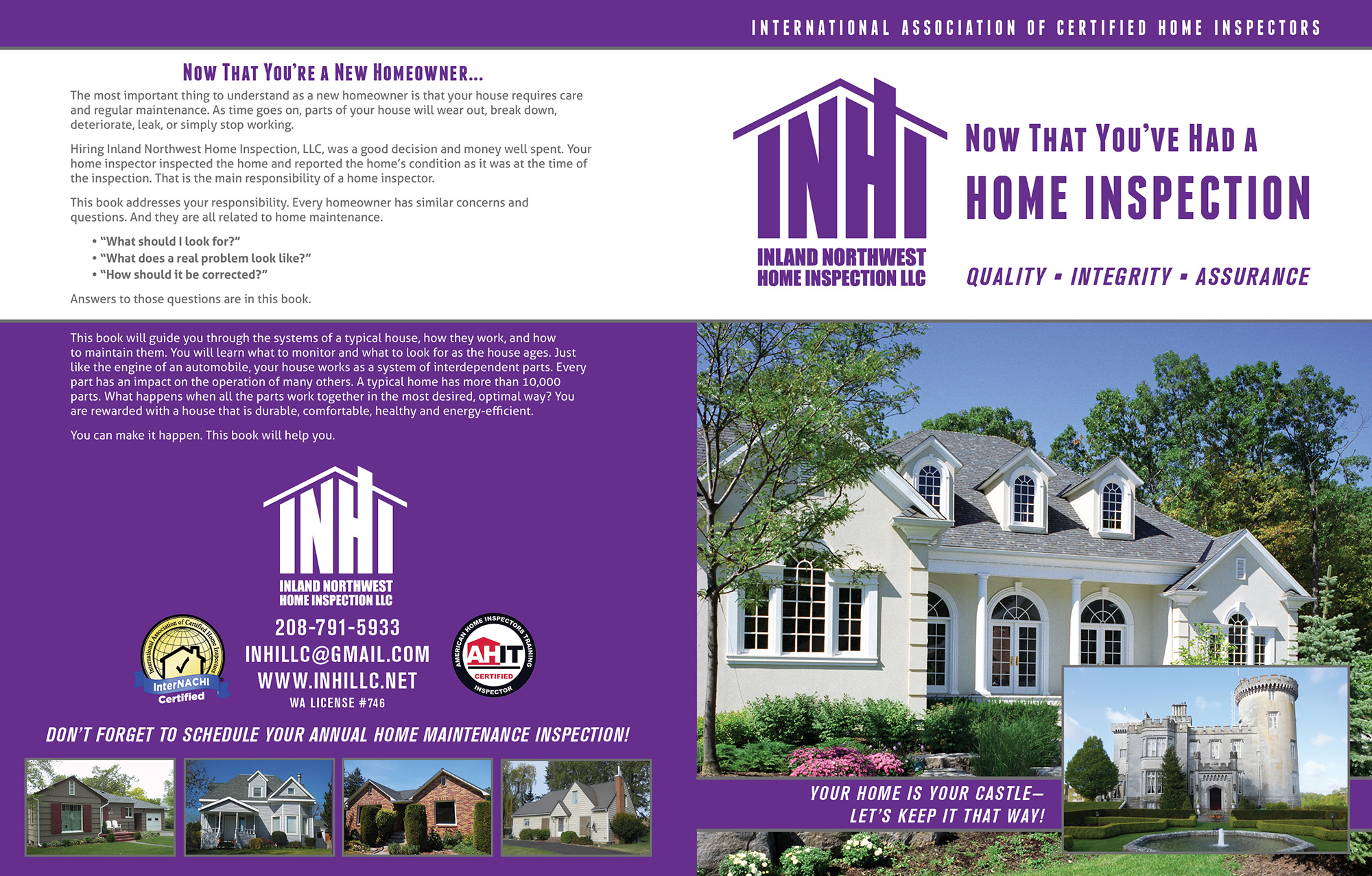 Custom Home Maintenance Book for Inland North Home Inspections.