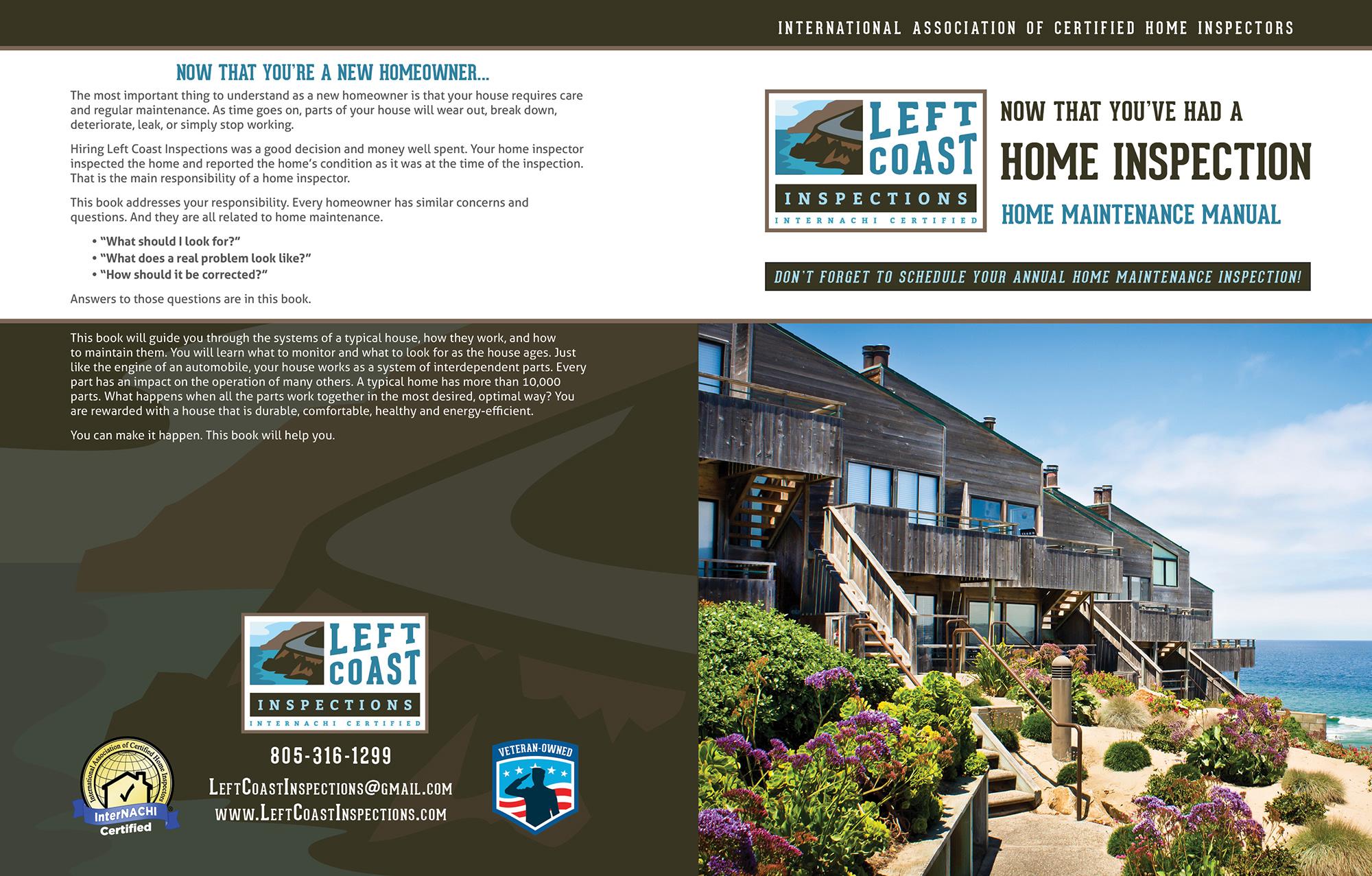 Custom Home Maintenance Book for Left Coast Inspections.