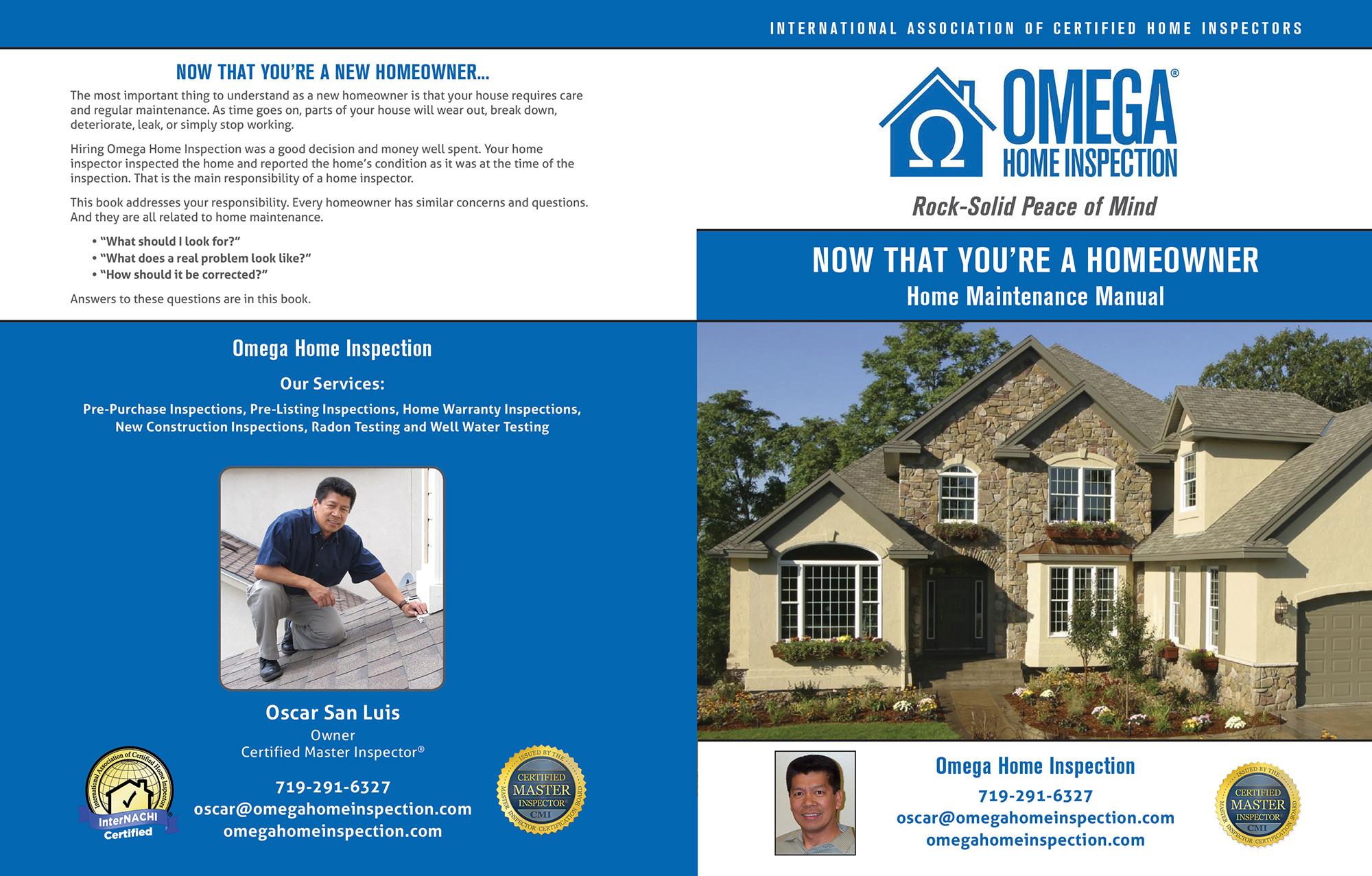 Custom Home Maintenance Book for Omega Home Inspection.