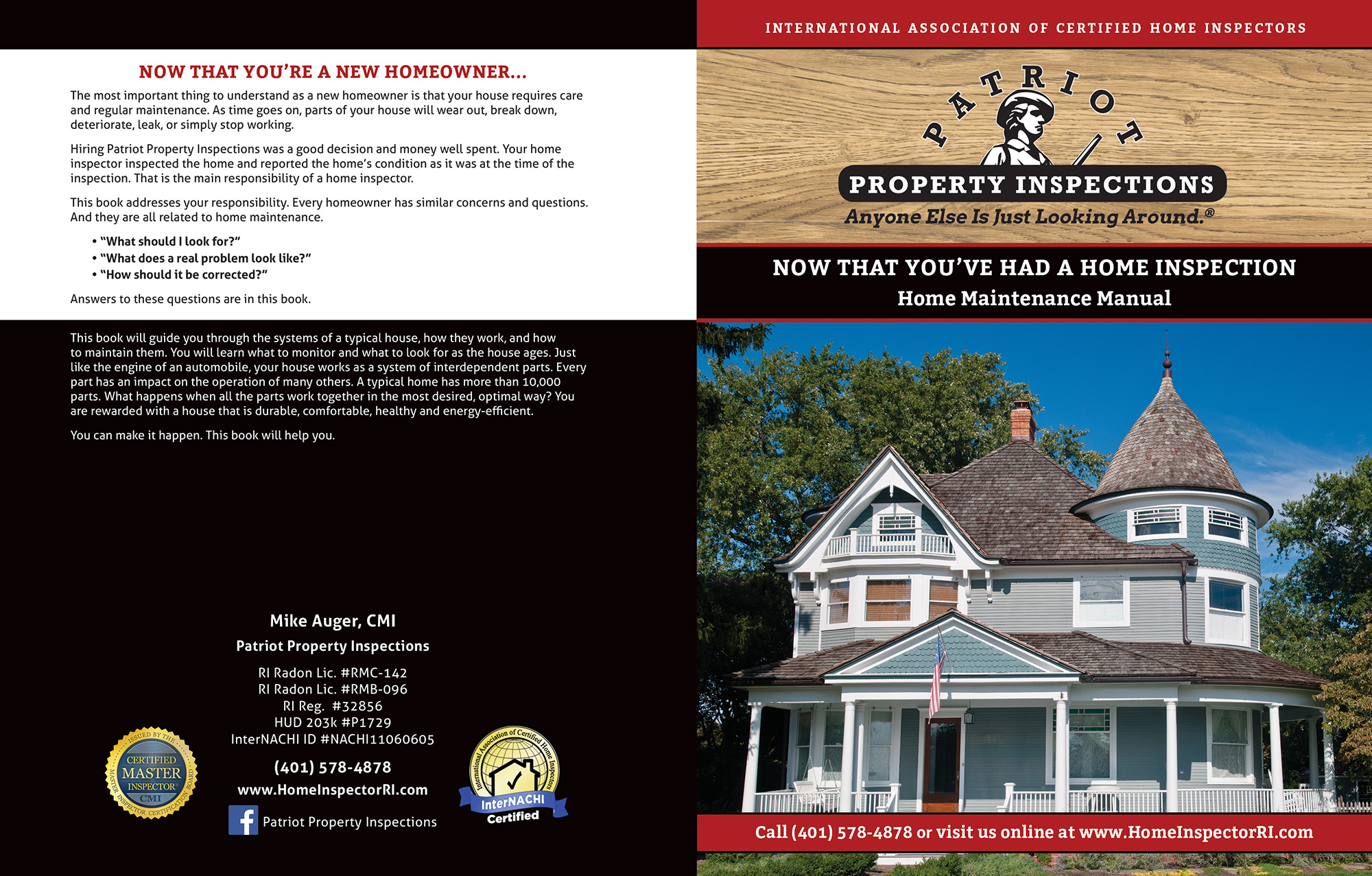 Custom Home Maintenance Book for Patriot Property Inspections.